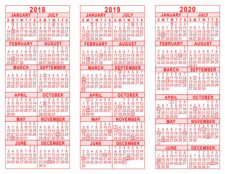 2019 and 2020 Calendar Printable Beautiful 2018 2019 2020 3 Year Calendar