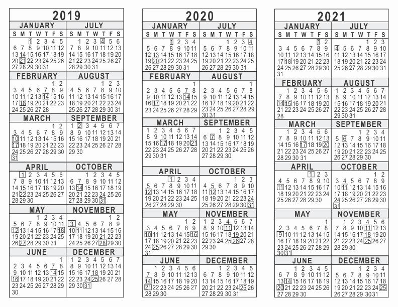 2019 and 2020 Calendar Printable Beautiful 2019 2020 2021 3 Year Calendar