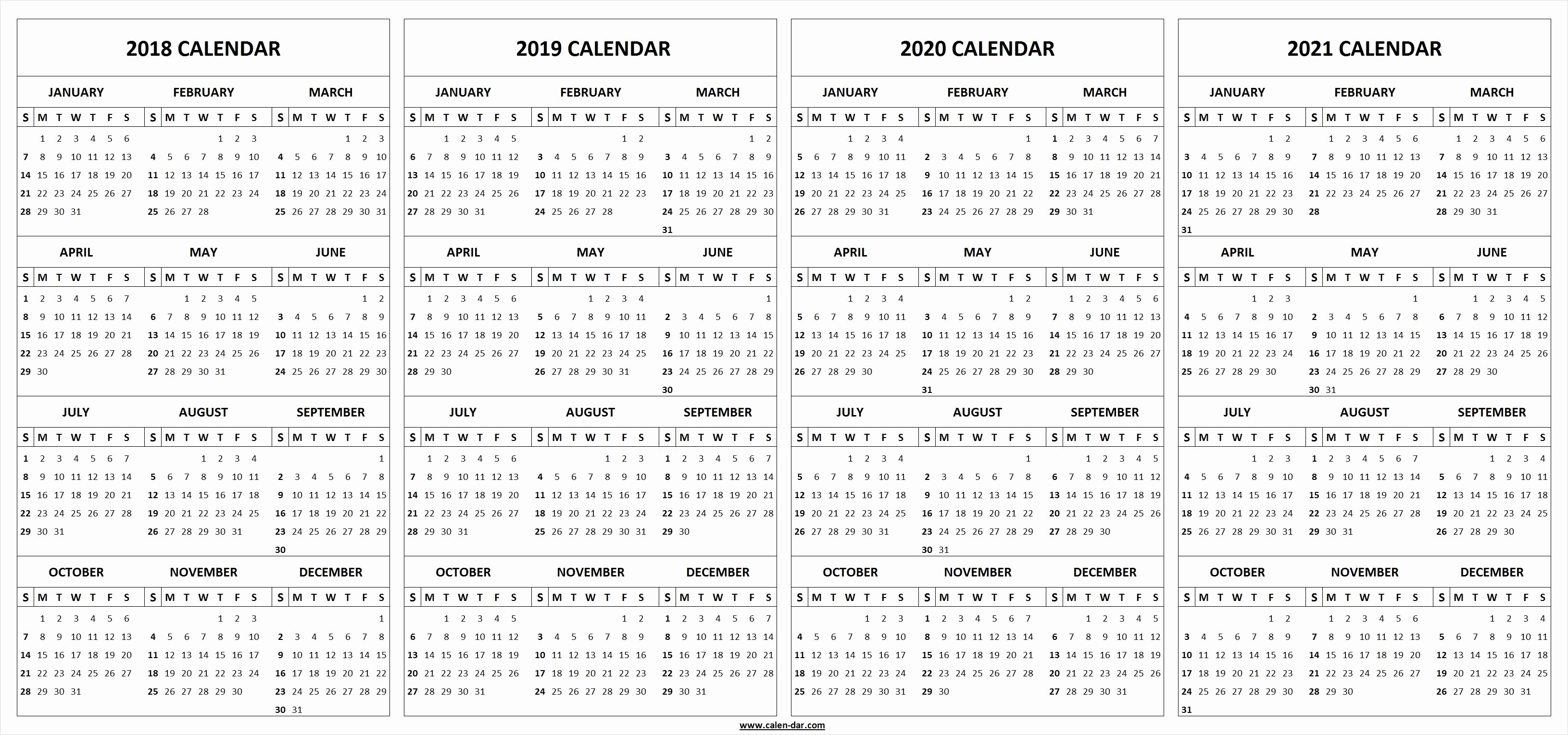 2019 and 2020 Calendar Printable Beautiful 4 Four Year 2018 2019 2020 2021 Calendar Printable