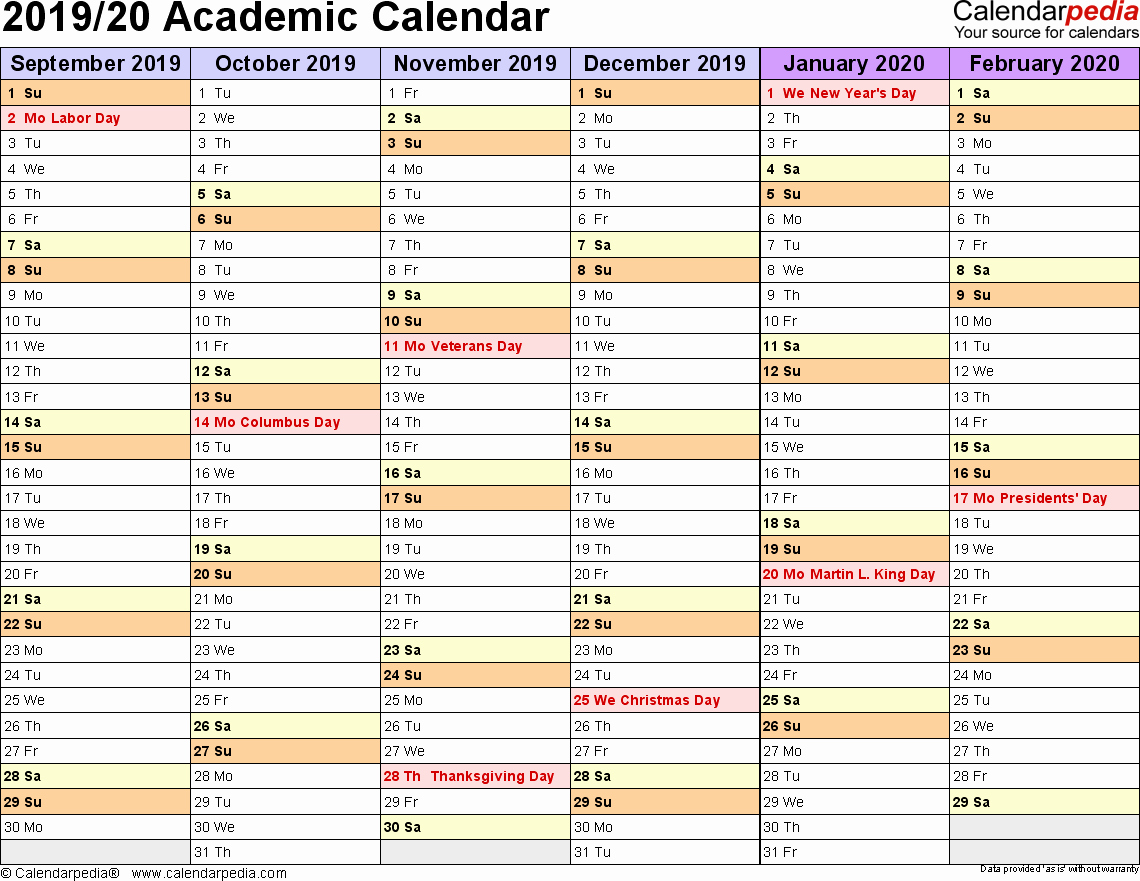 2019 and 2020 Calendar Printable Beautiful Academic Calendars 2019 2020 Free Printable Excel Templates