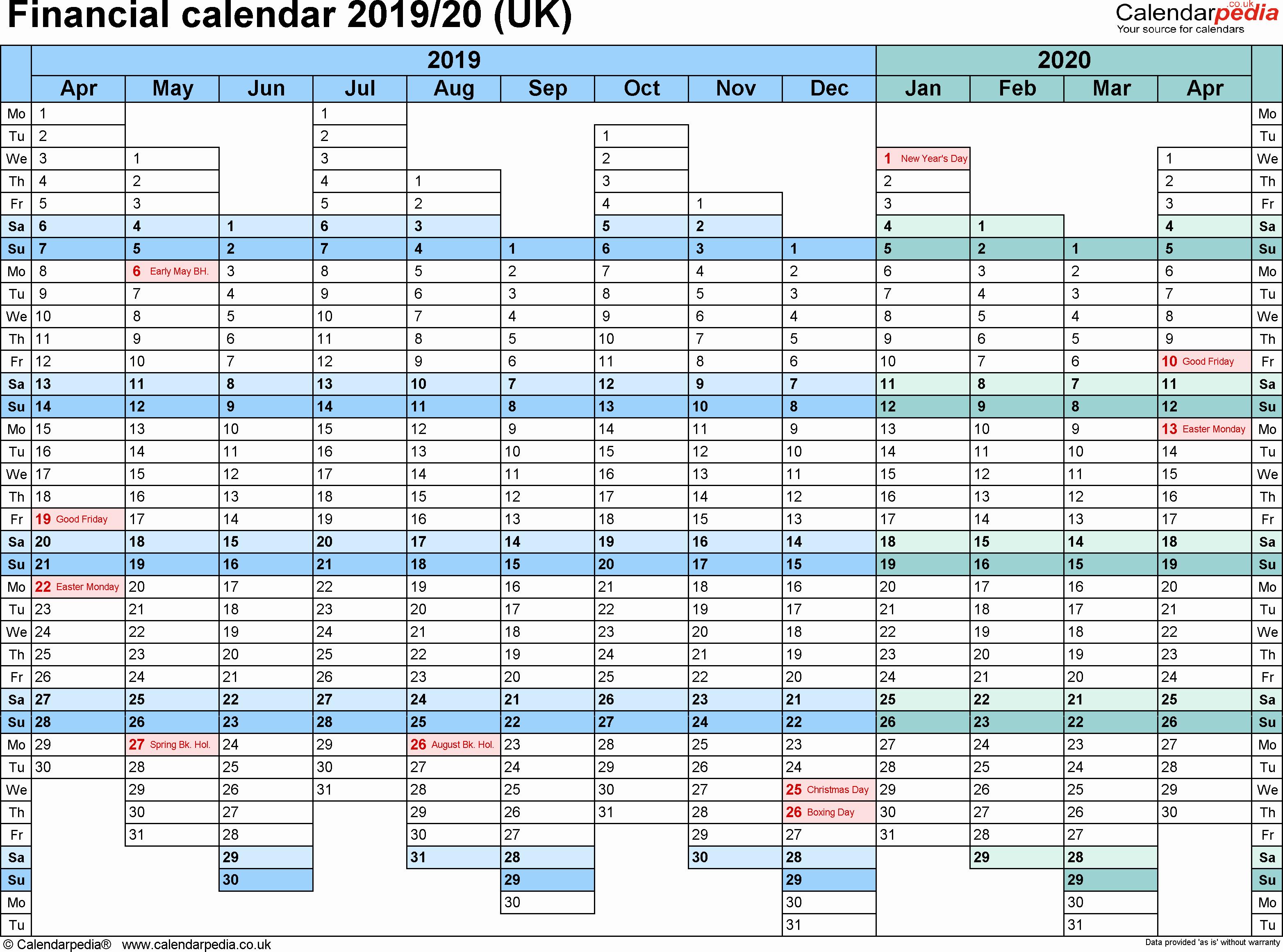 2019 and 2020 Calendar Printable Beautiful Financial Calendars 2019 20 Uk In Microsoft Excel format