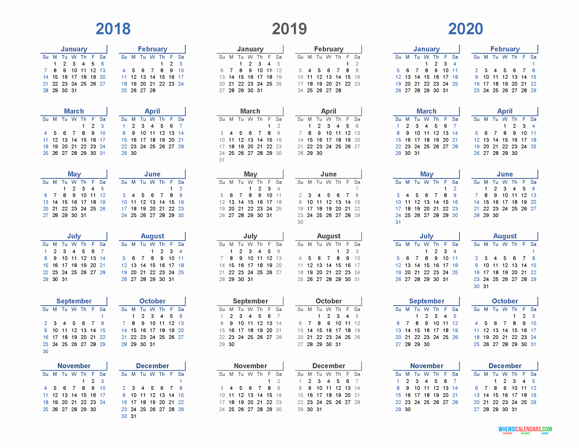 2019 and 2020 Calendar Printable Best Of Printable Calendar 2018 2019 and 2020 3 Year Calendar