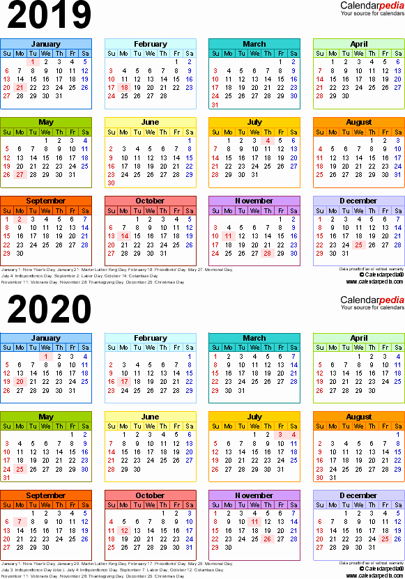 2019 and 2020 Calendar Printable Elegant 2019 2020 Calendar Free Printable Two Year Word Calendars