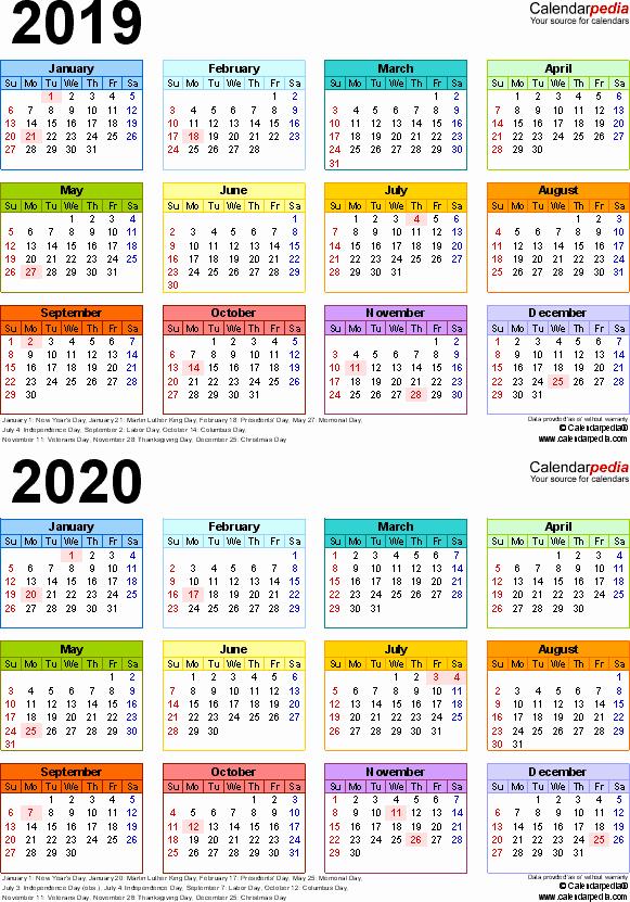 2019 and 2020 Calendar Printable Elegant 2019 2020 Calendar Free Printable Two Year Word Calendars