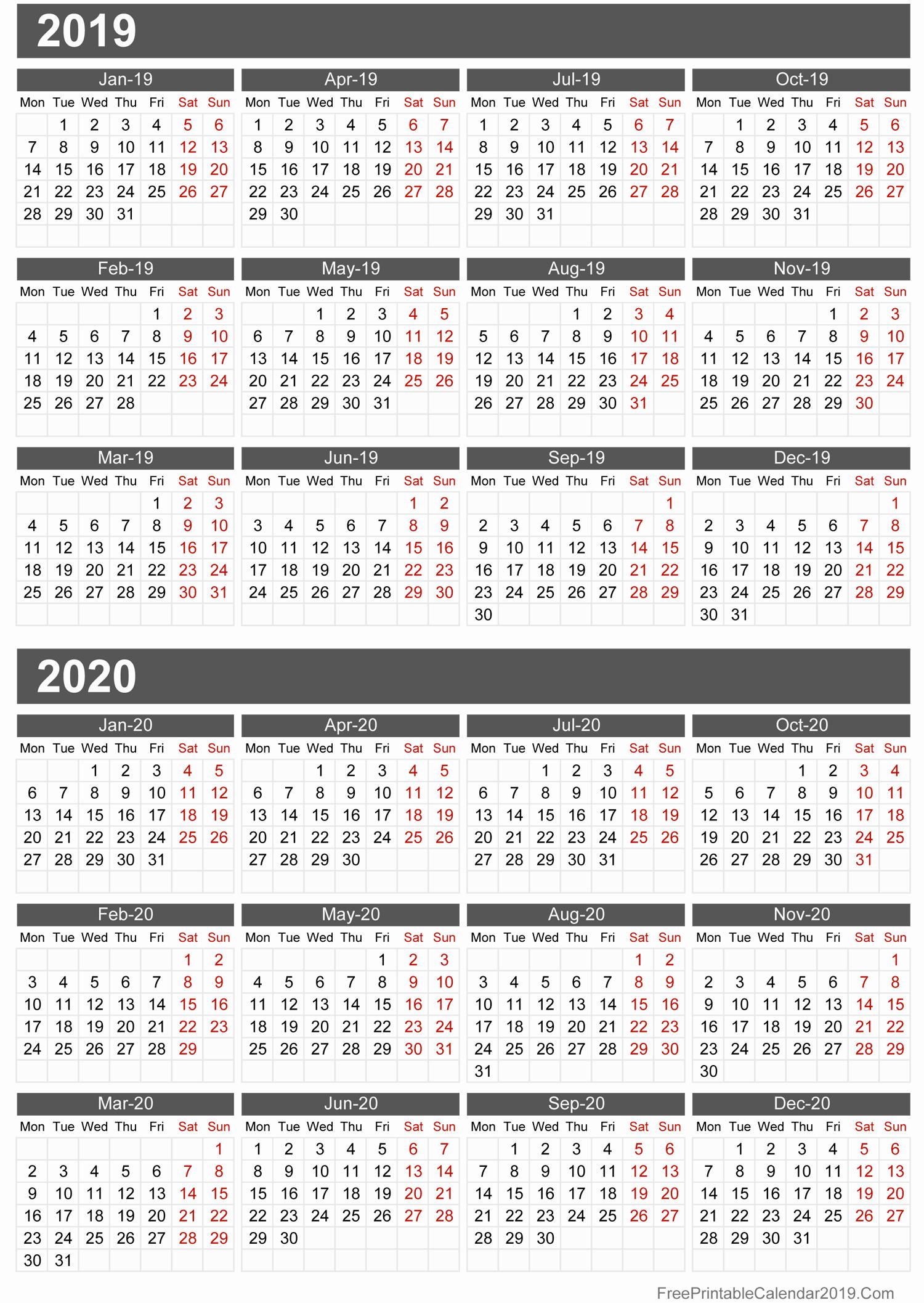 2019 and 2020 Calendar Printable Elegant Free Printable Calendar 2019 with Holidays In Word Excel Pdf