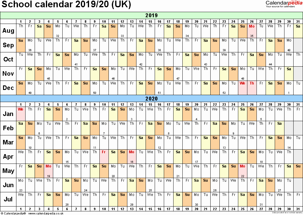 2019 and 2020 Calendar Printable Elegant School Calendars 2019 2020 as Free Printable Pdf Templates