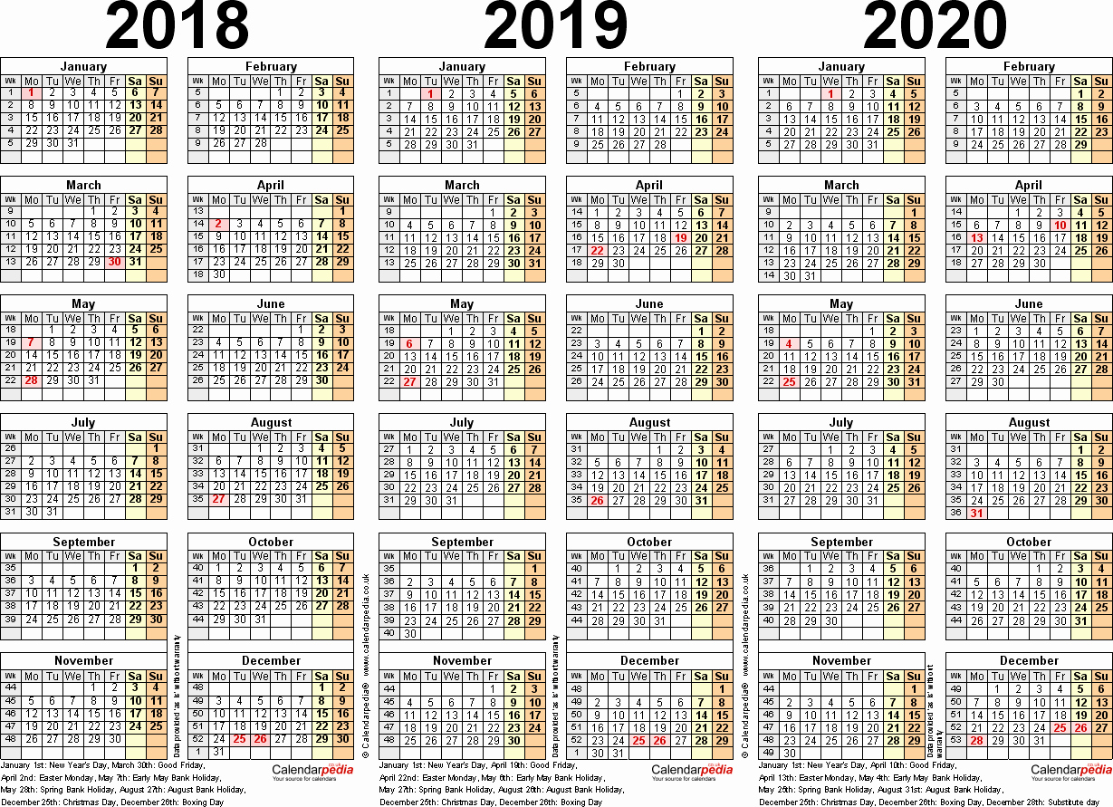 2019 and 2020 Calendar Printable Elegant Three Year Calendars for 2018 2019 & 2020 Uk for Word