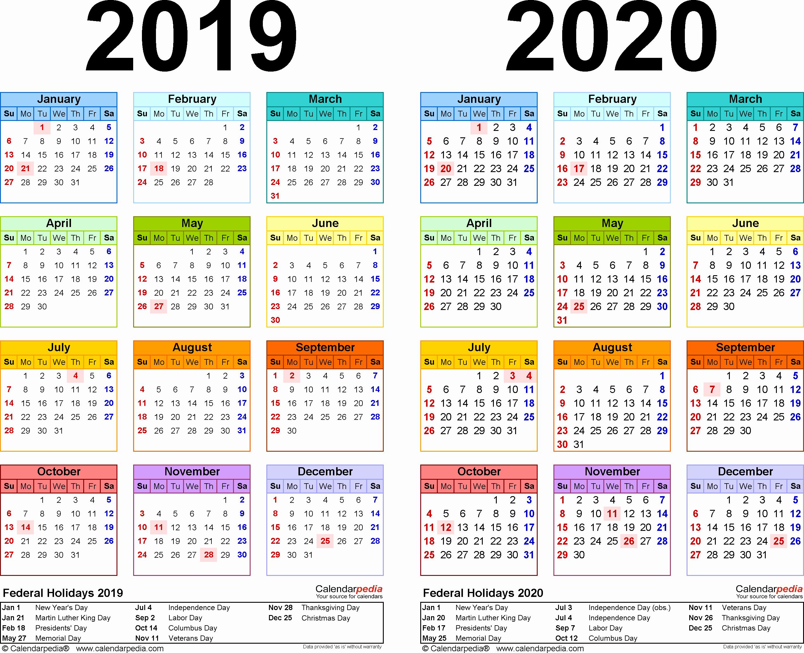 2019 and 2020 Calendar Printable Fresh 2019 2020 Calendar Free Printable Two Year Word Calendars