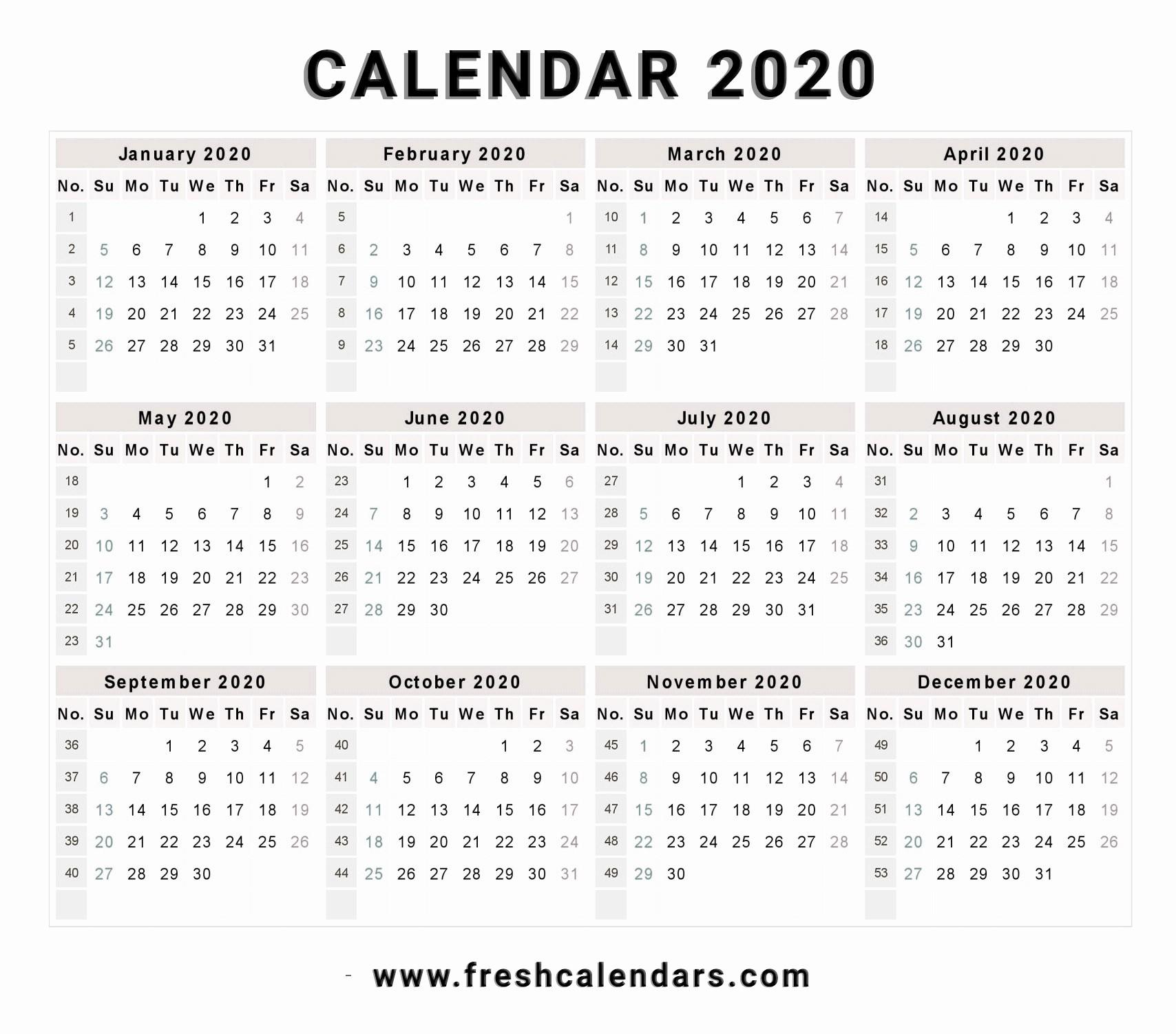 2019 and 2020 Calendar Printable Fresh 2020 Calendar
