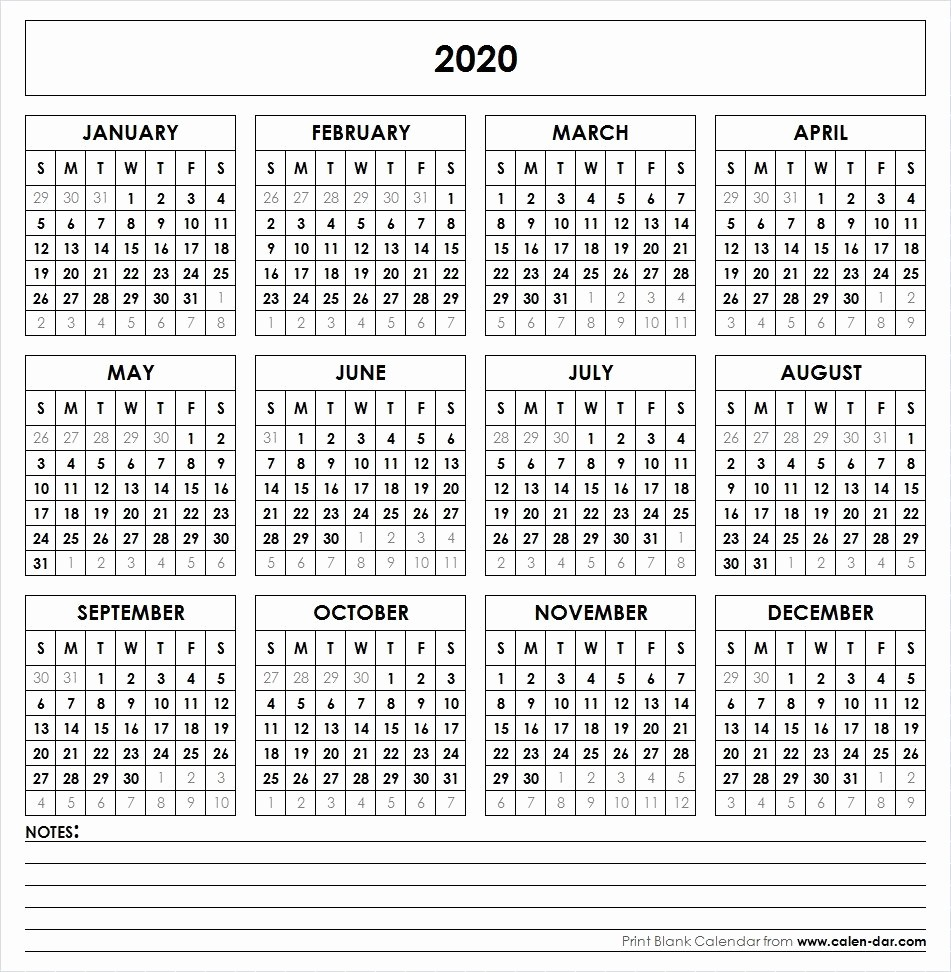 2019 and 2020 Calendar Printable Fresh 2020 Printable Calendar Yearly Calendar