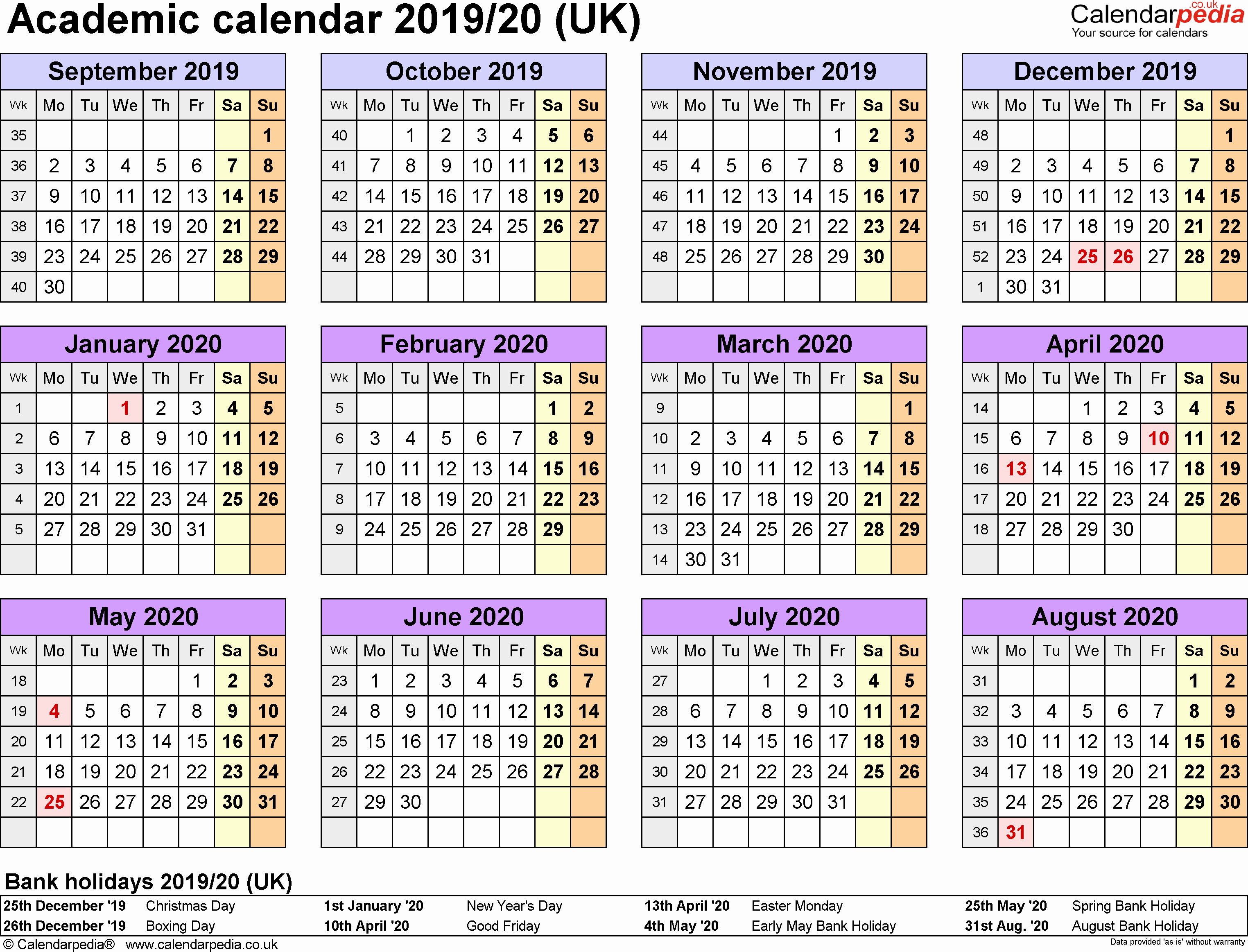 2019 and 2020 Calendar Printable Fresh Academic Calendars 2019 2020 as Free Printable Pdf Templates