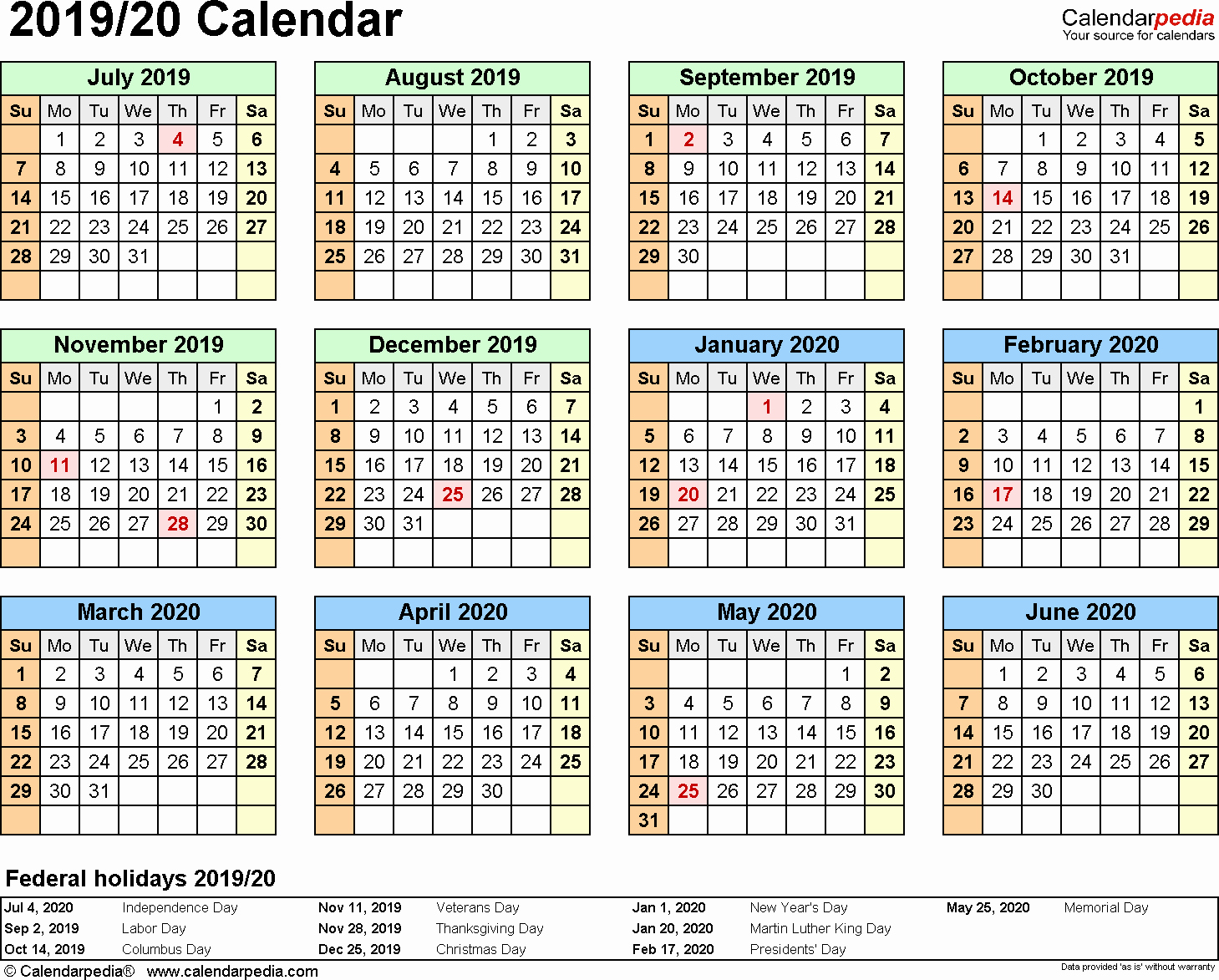 2019 and 2020 Calendar Printable Fresh Split Year Calendar 2019 20 July to June Word Templates