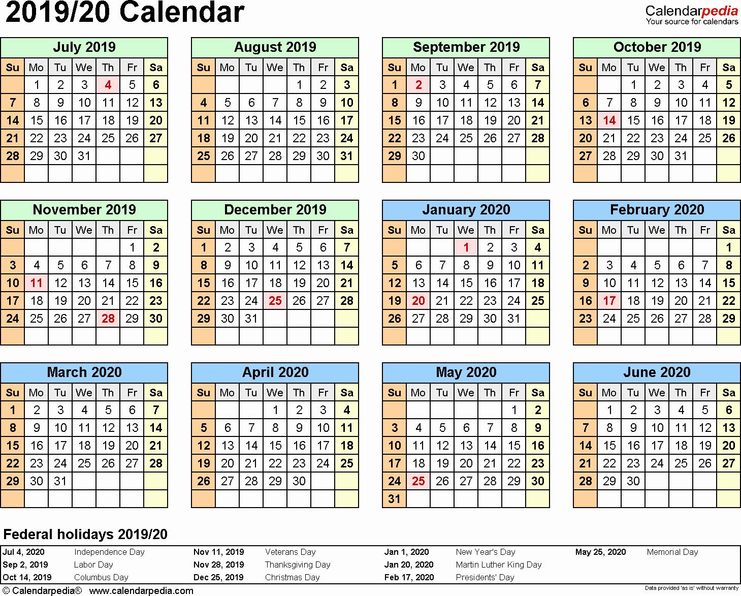 2019 and 2020 calendar printable fresh split year calendar 2019 20 july to june word templates