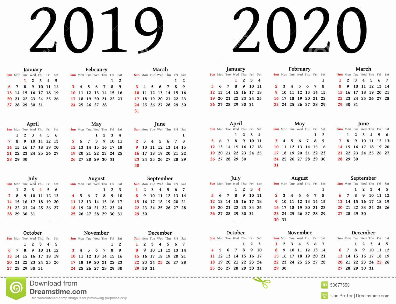 2019 and 2020 Calendar Printable Inspirational 2019 Yearly Calendar – Free Download