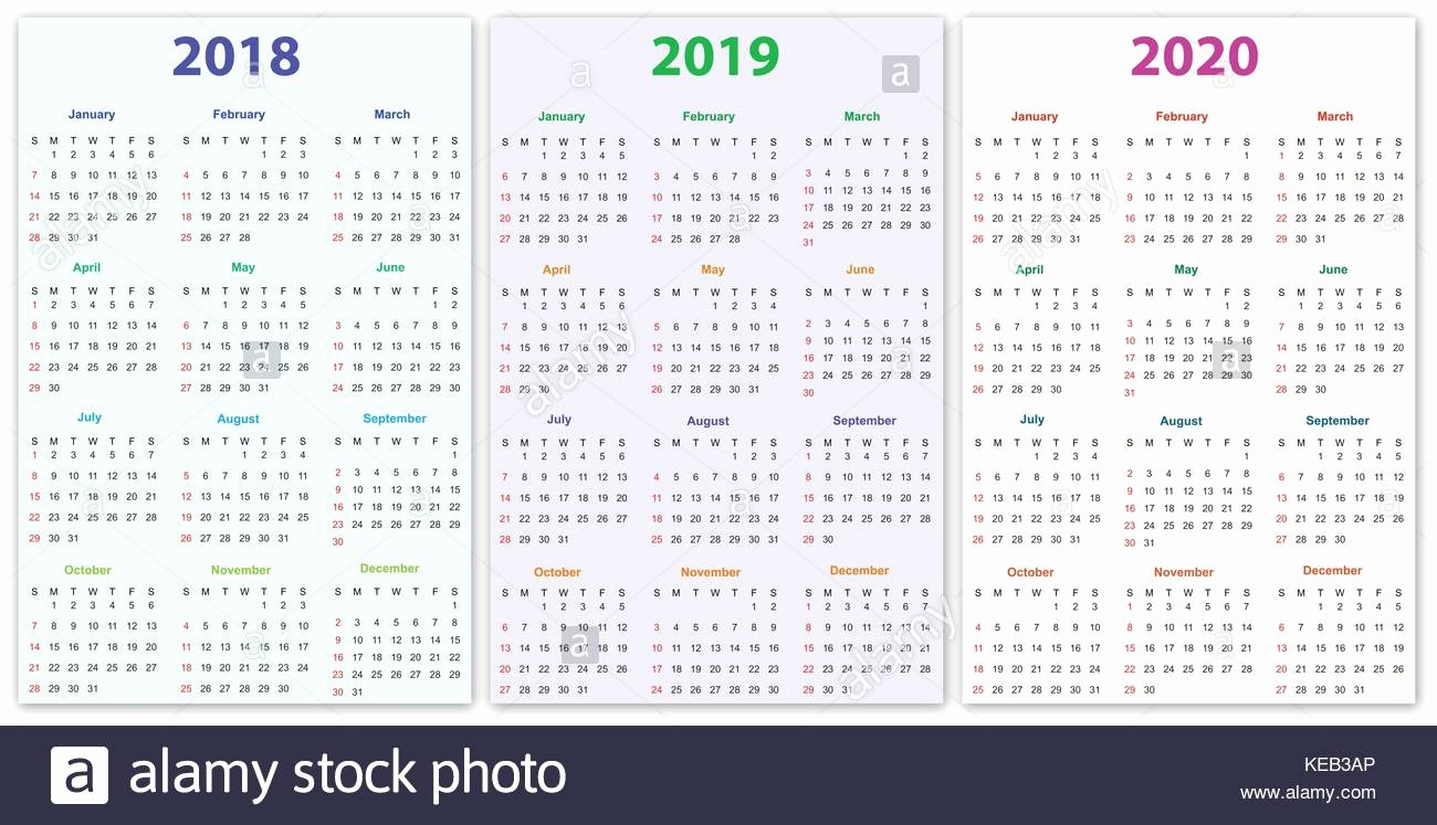 2019 and 2020 Calendar Printable Lovely 2018 Calendar Simple Vector Calendar Stock S & 2018