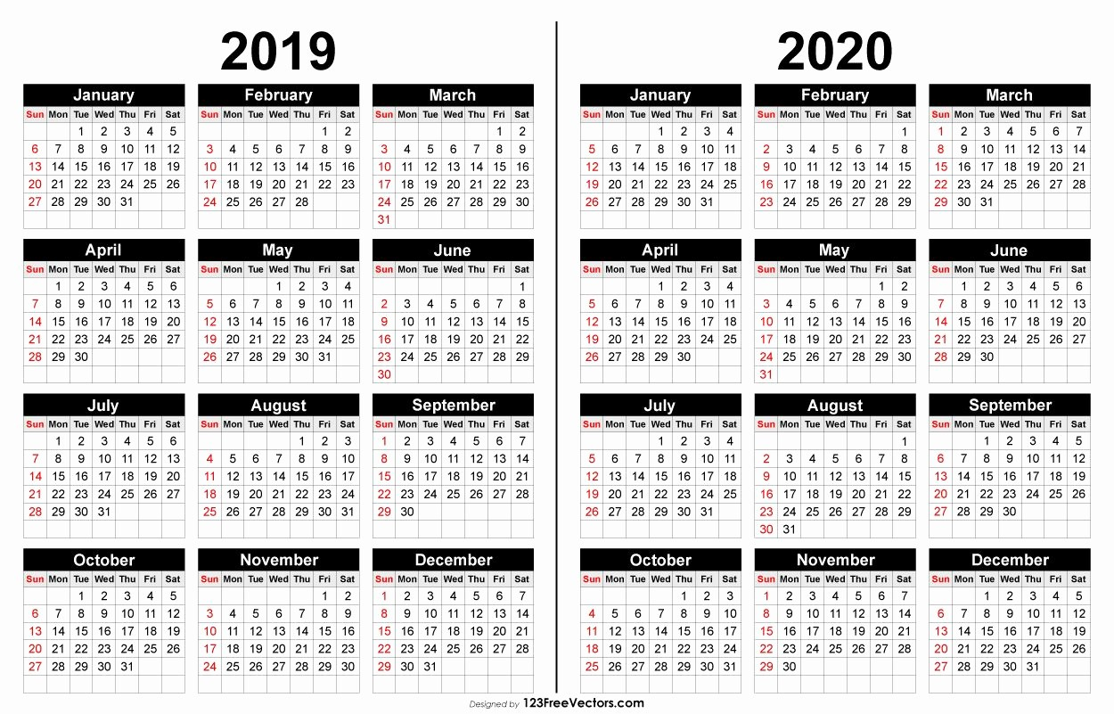 2019 and 2020 Calendar Printable Lovely 2019 and 2020 Calendar Printable 2019 Calendar