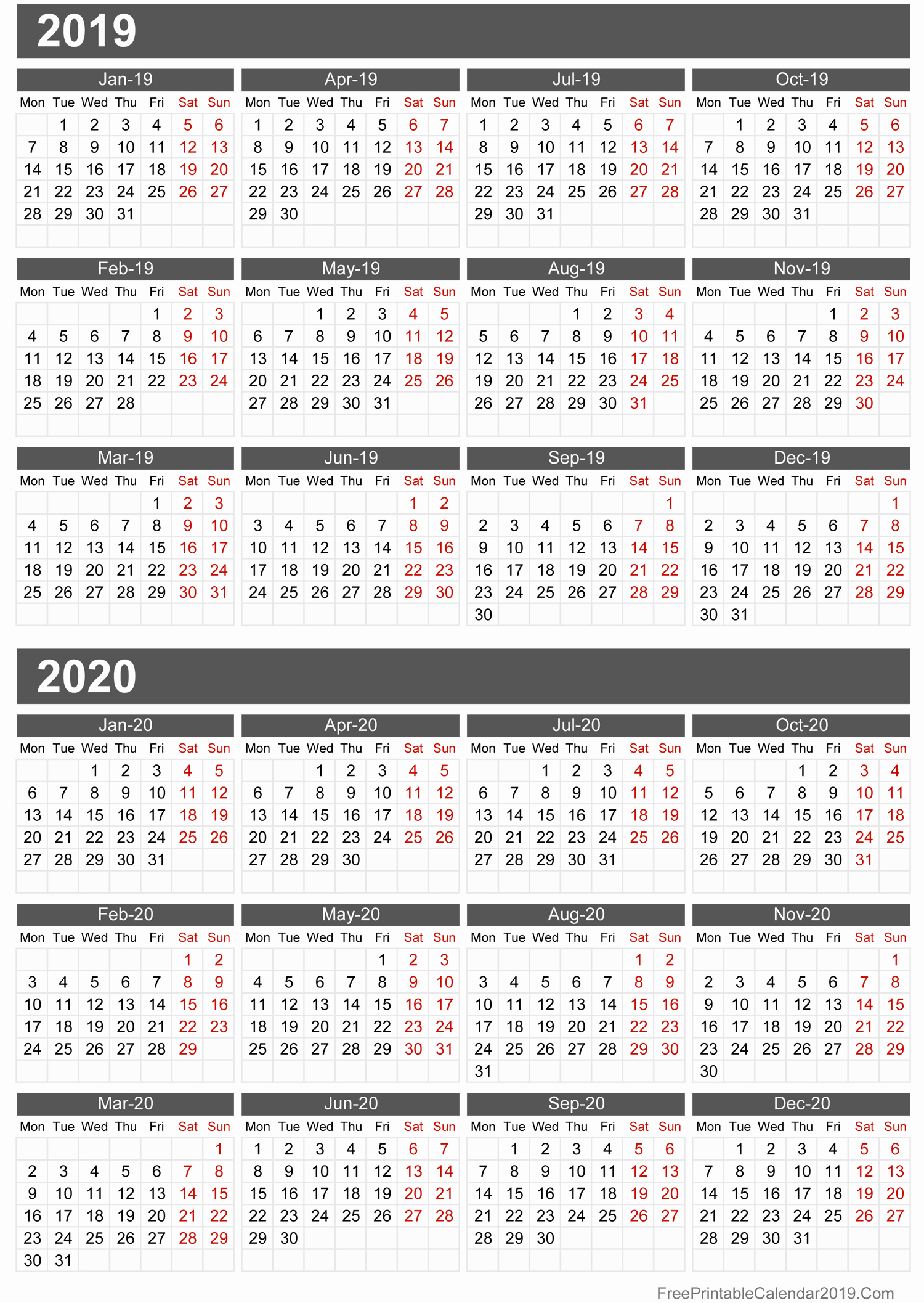 2019 and 2020 Calendar Printable Lovely Free Printable Calendar 2019 with Holidays In Word Excel Pdf