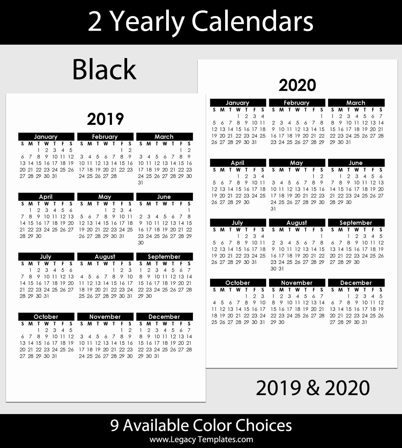 2019 and 2020 Calendar Printable Luxury 2019 & 2020 Yearly Calendar – 5 5 X 8 5