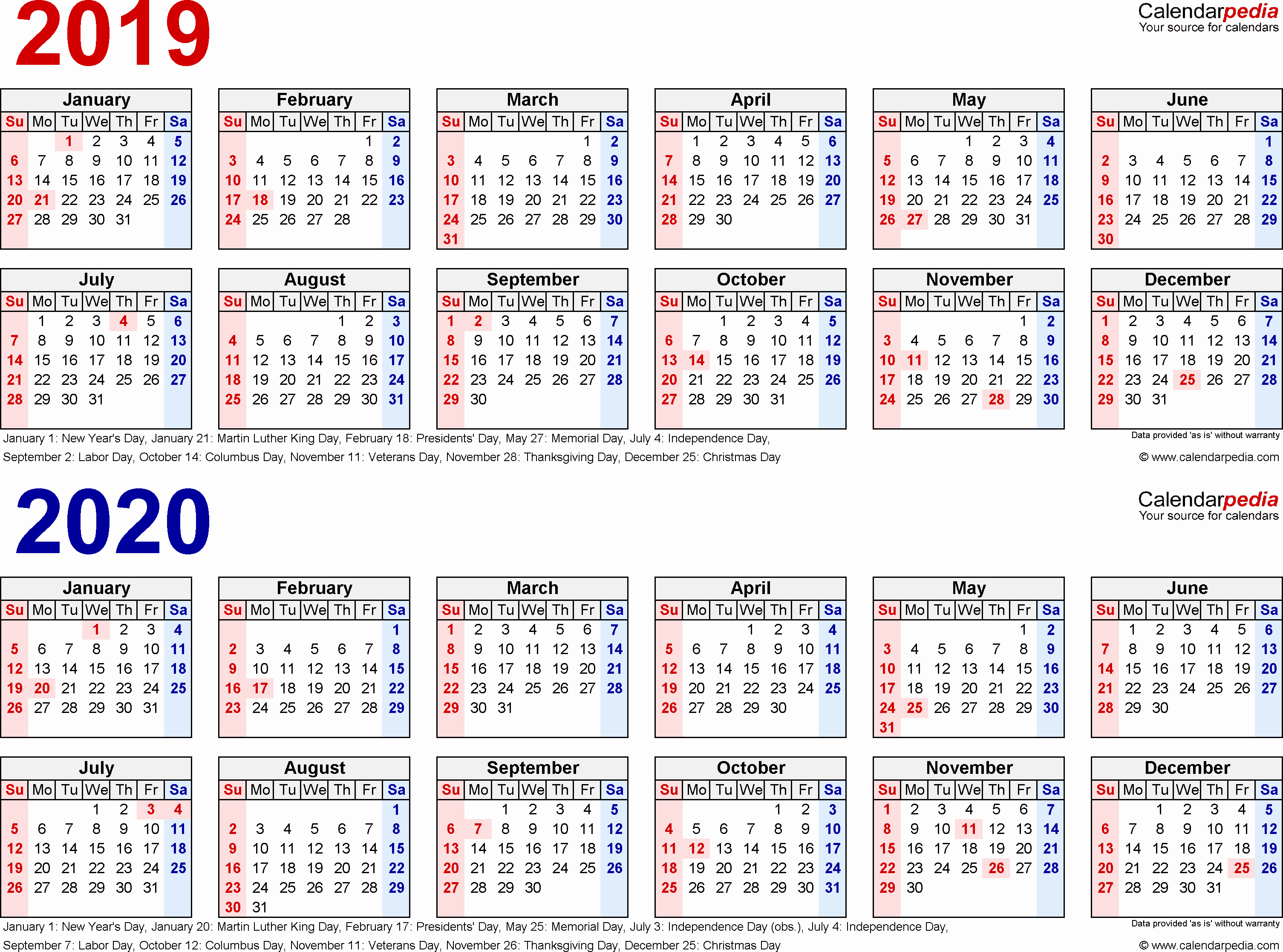 two year 2019 2020 calendar word templates