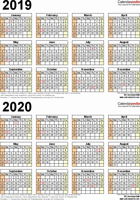 2019 and 2020 Calendar Printable New 2019 2020 Calendar Free Printable Two Year Word Calendars