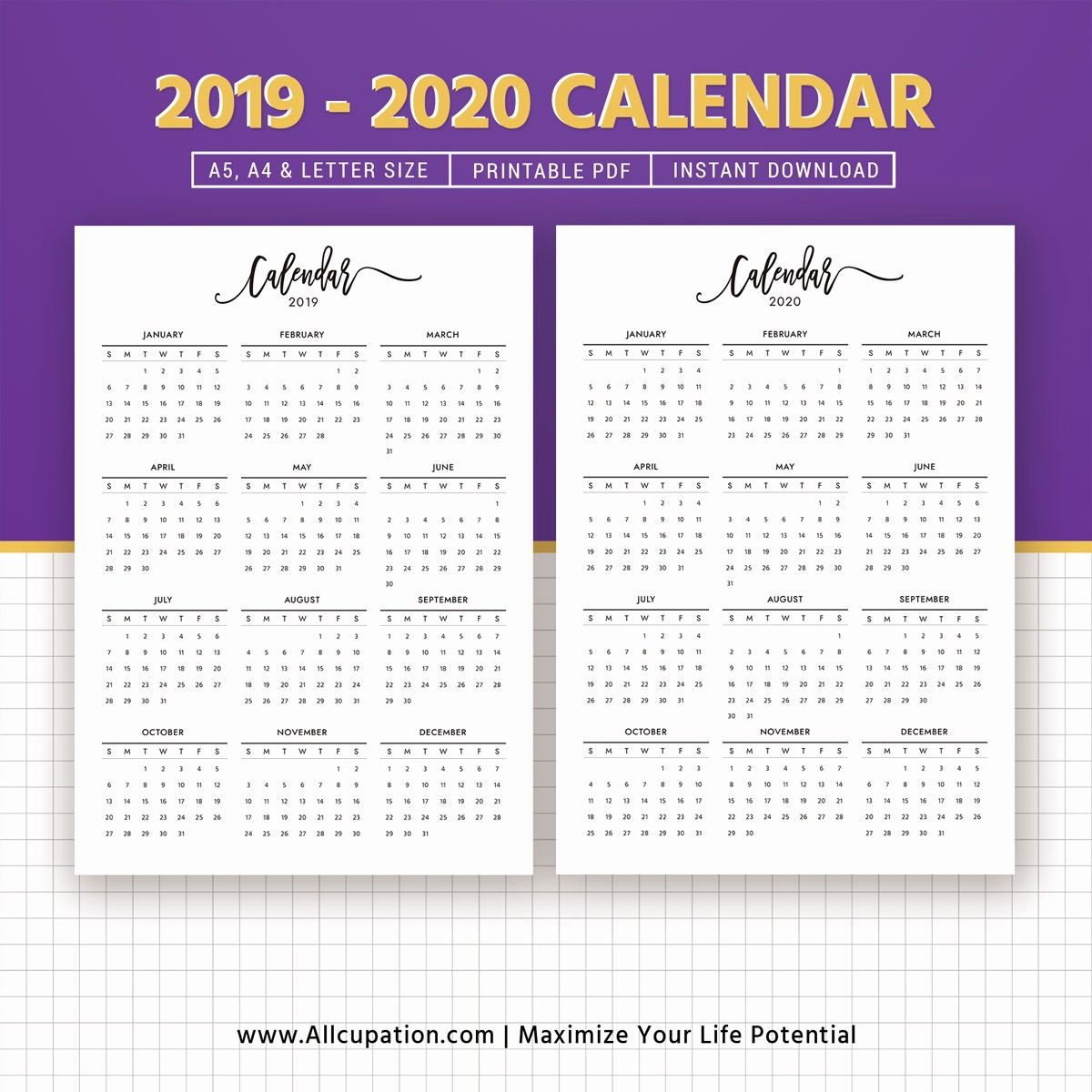 2019 and 2020 Calendar Printable New 2019 2020 Calendar Printable Calendar Planner Design