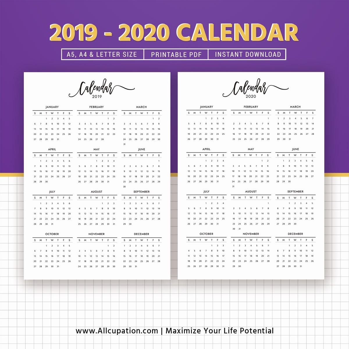 2019 and 2020 Calendar Printable New 2019 2020 Calendar Printable Calendar Planner Design