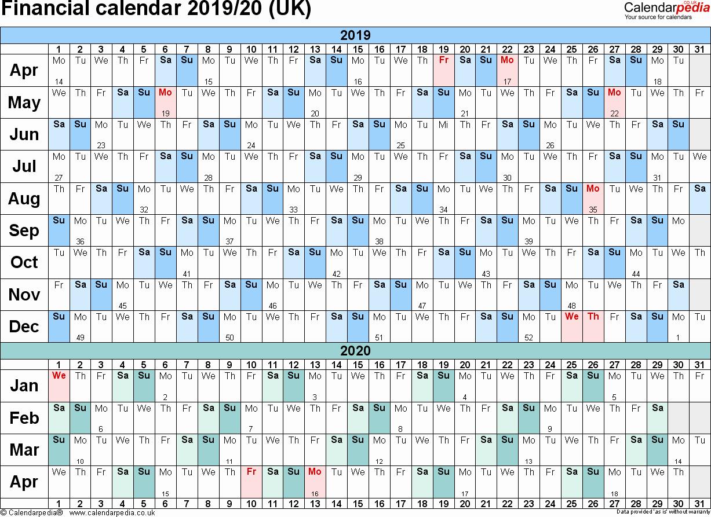 2019 and 2020 Calendar Printable New Financial Calendars 2019 20 Uk In Pdf format