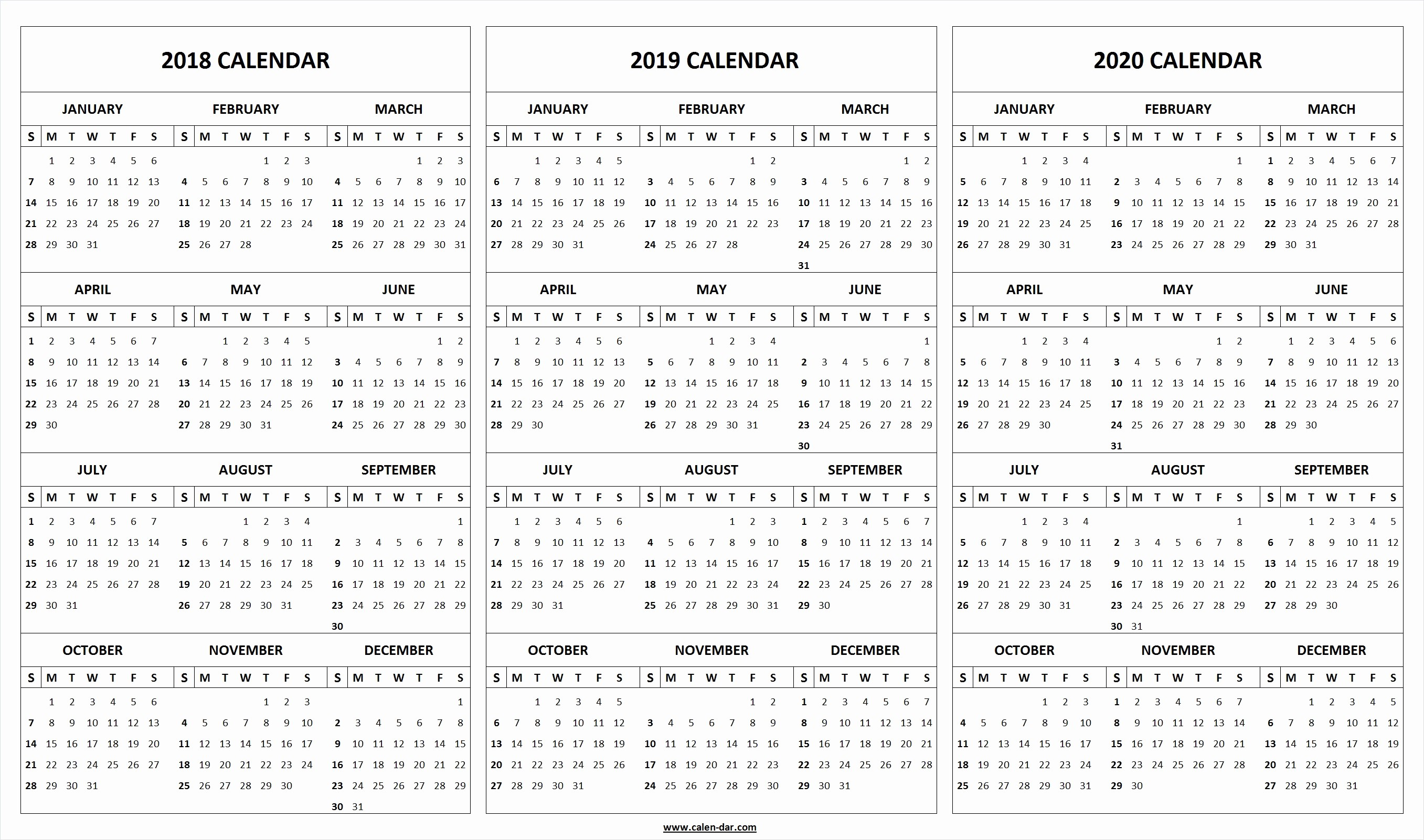 2019 and 2020 Calendar Printable New Printable 2018 2019 2020 Calendar Template