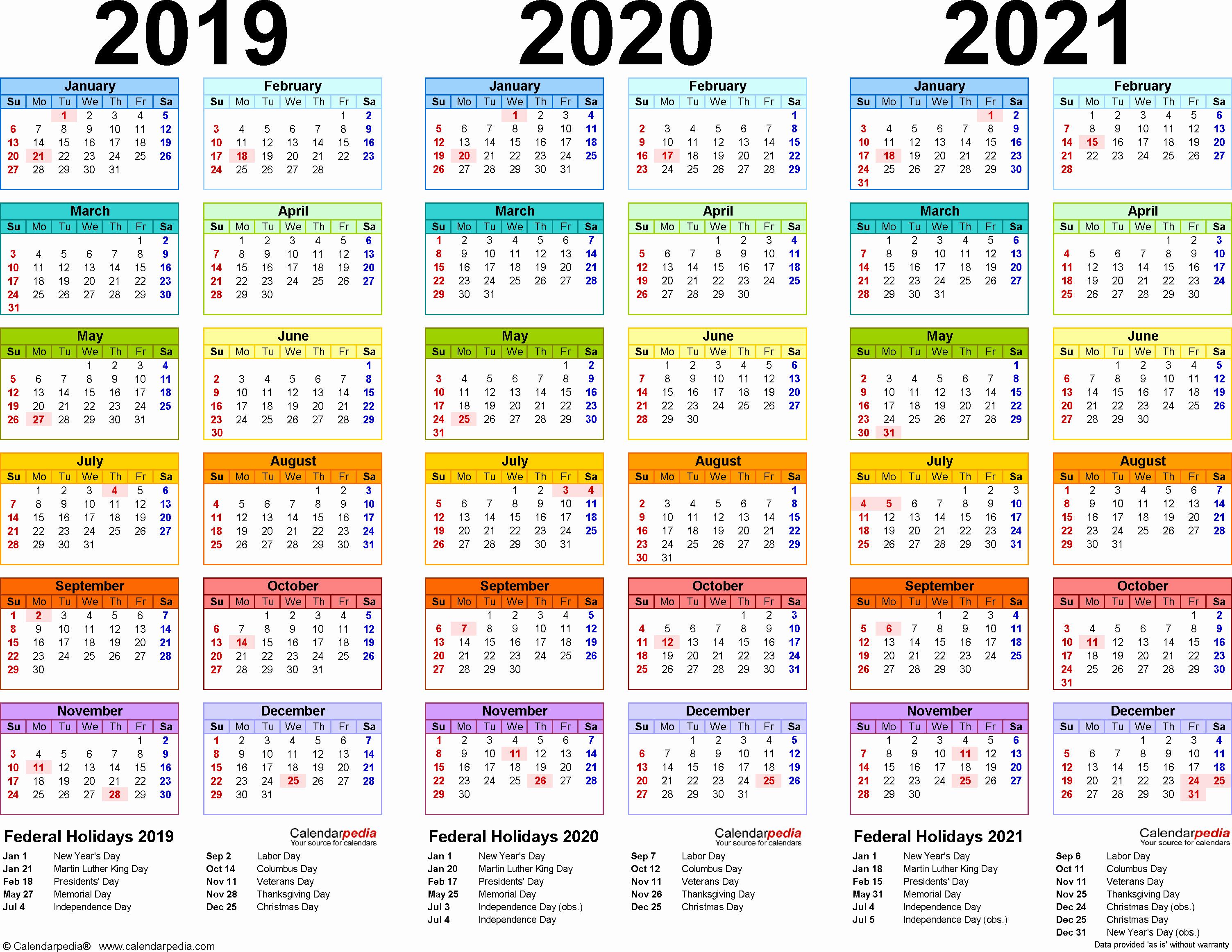 2019 and 2020 Calendar Printable Unique 2019 2020 2021 Calendar 4 Three Year Printable Excel