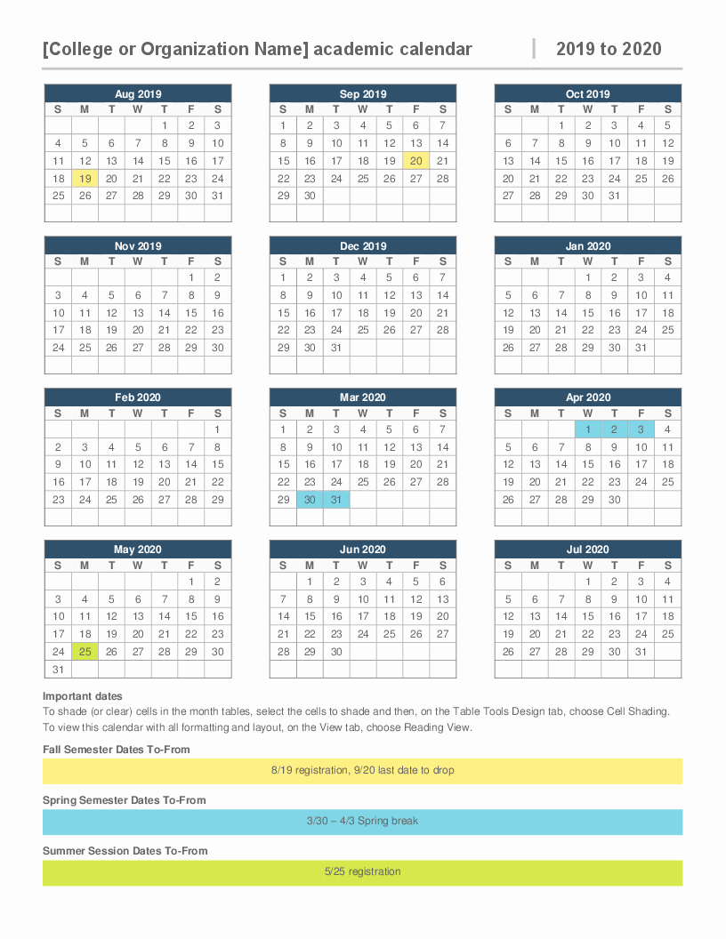 2019 and 2020 Calendar Printable Unique 2019 2020 Academic Calendar