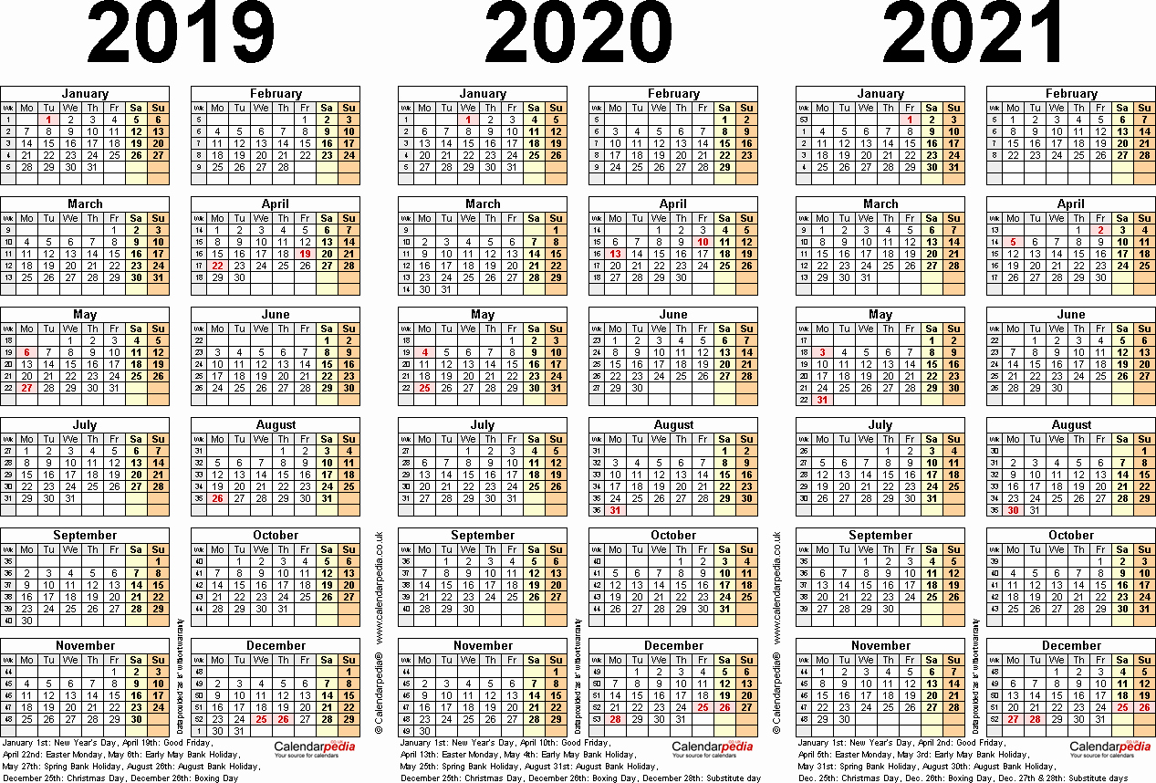 2019 and 2020 Calendar Printable Unique Three Year Calendars for 2019 2020 & 2021 Uk for Pdf