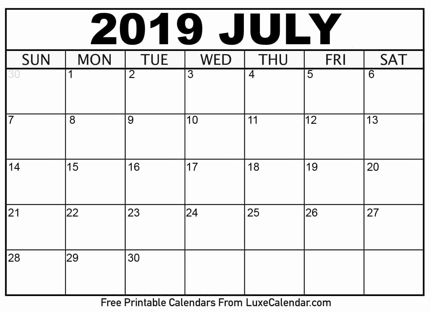 2019 Printable Calendar by Month Awesome Blank July 2019 Printable Calendar Luxe Calendar