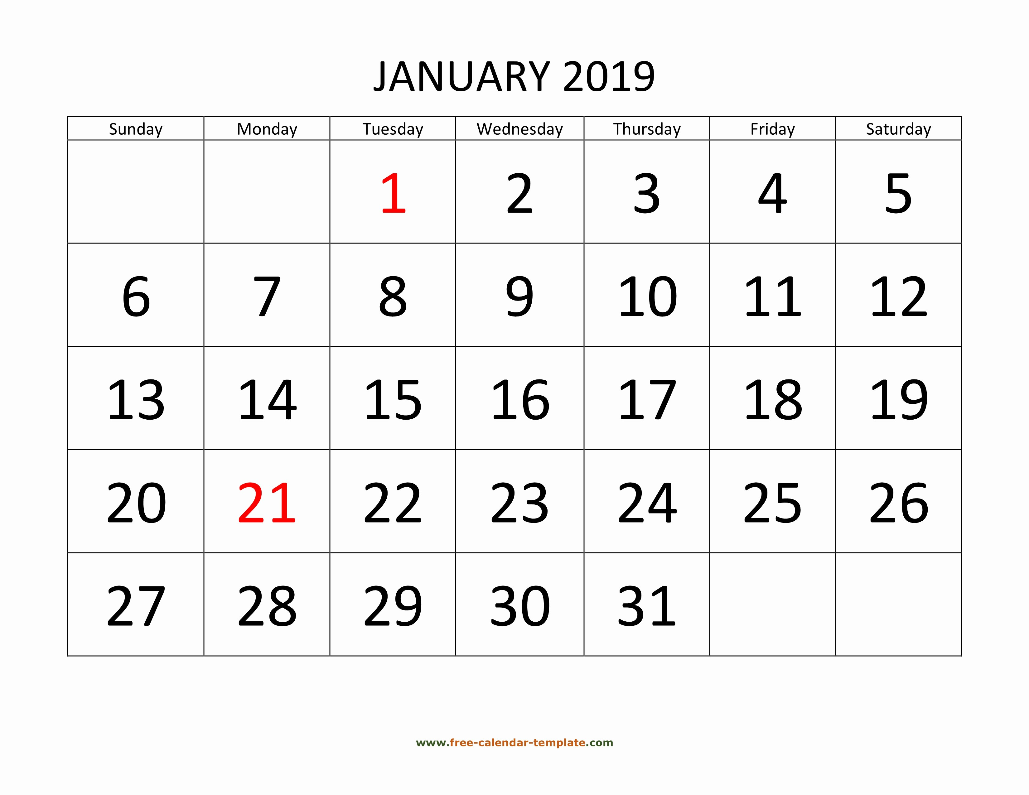 2019 Printable Calendar by Month Awesome Printable Monthly Calendar 2019
