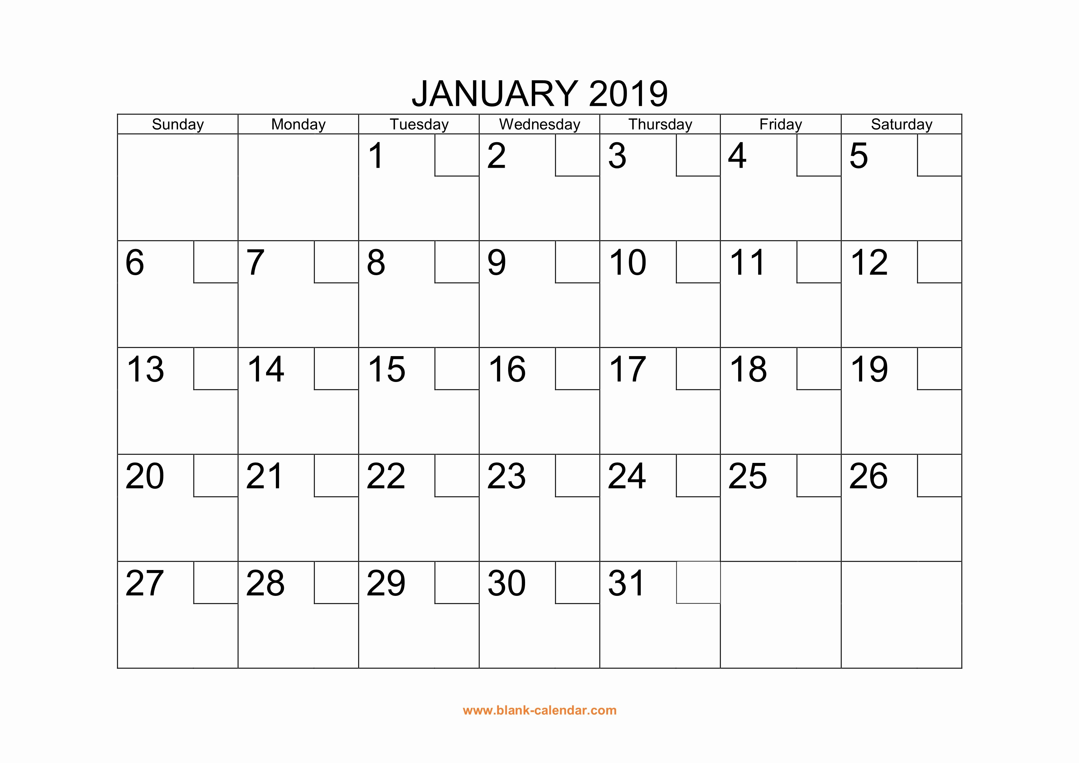 2019 Printable Calendar by Month Beautiful Free Download Printable Calendar 2019 with Check Boxes