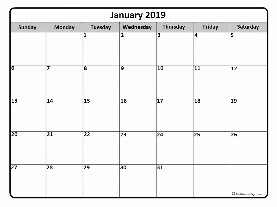 2019 Printable Calendar by Month Beautiful January 2019 Calendar January 2019 Calendar Printable