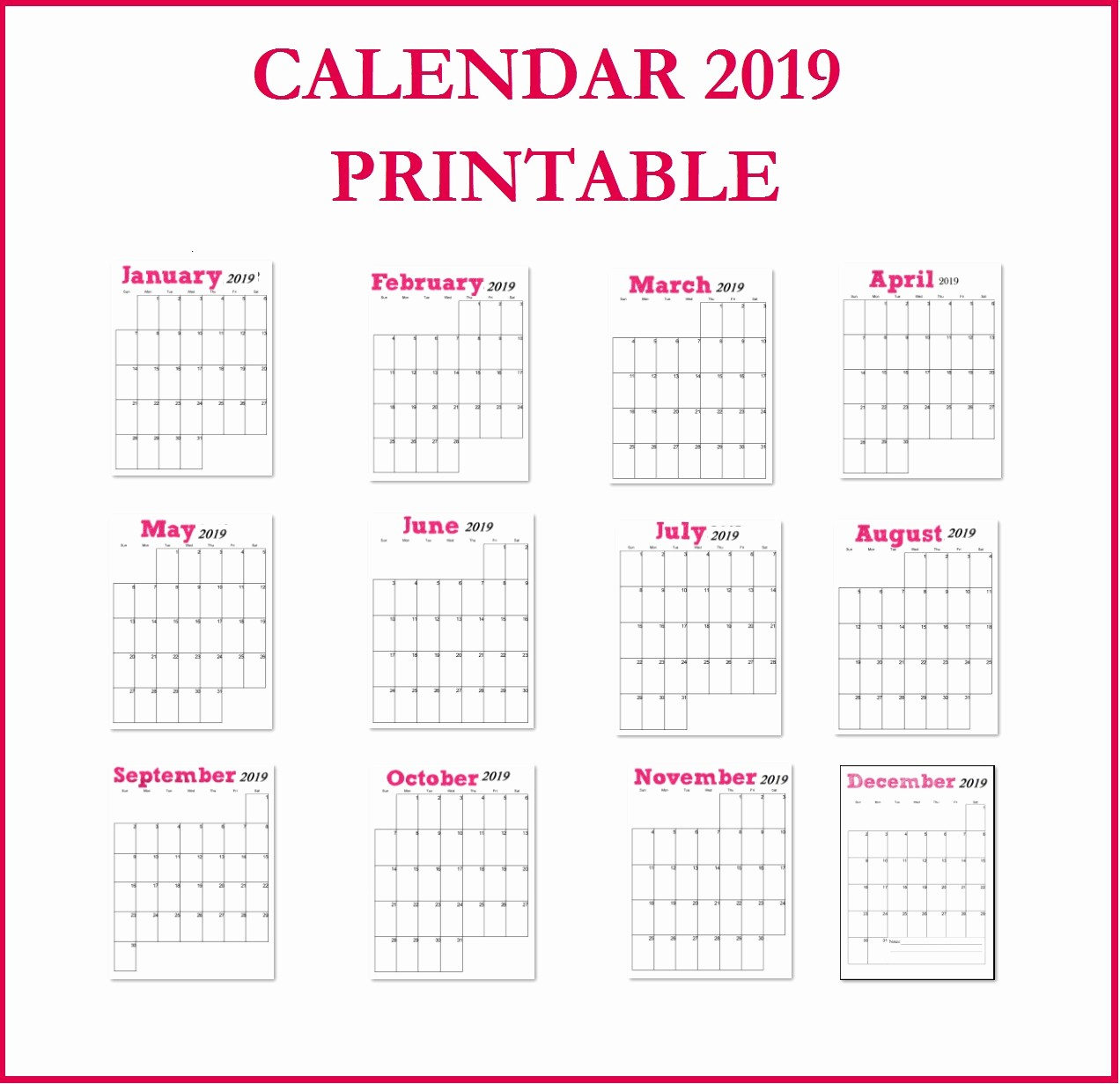 2019 Printable Calendar by Month Beautiful Printable 2019 Vertical Monthly Calendar