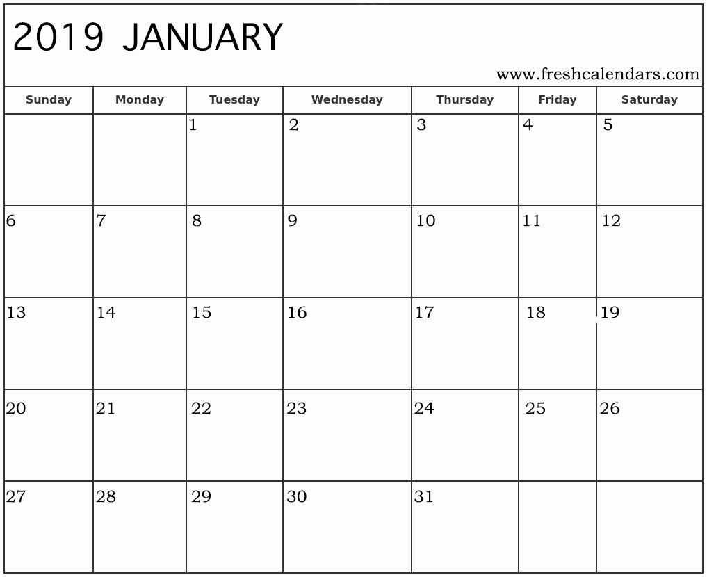2019 Printable Calendar by Month Beautiful Printable January 2019 Calendar Fresh Calendars