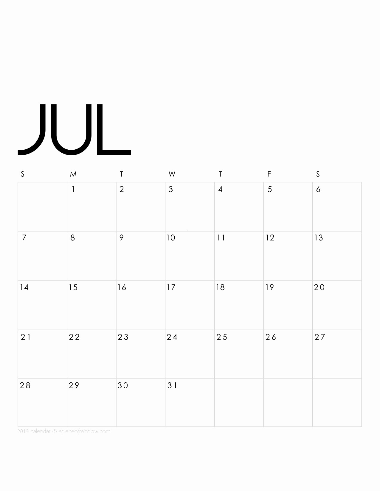 2019 Printable Calendar By Month Beautiful Printable July 2019