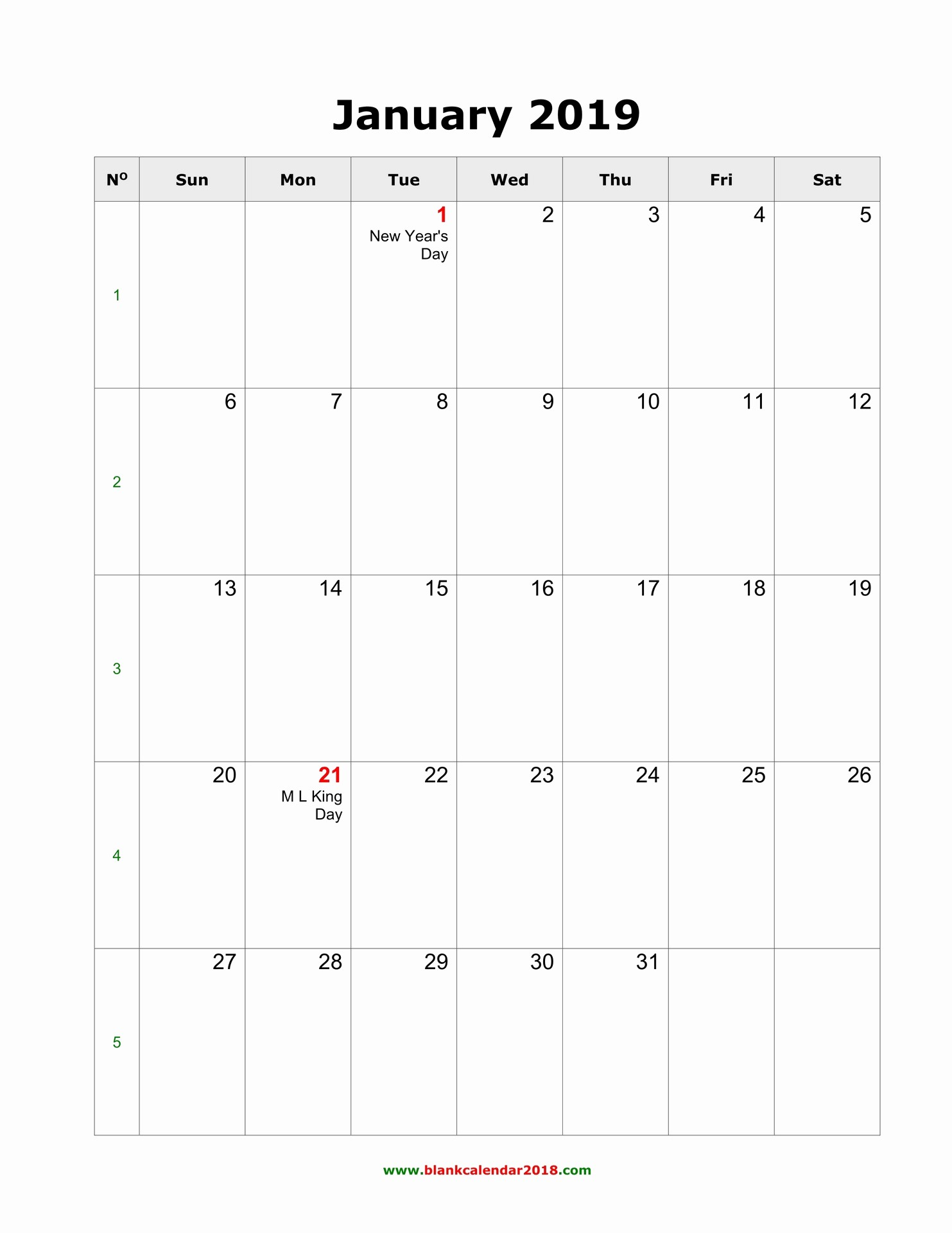 2019 Printable Calendar by Month Best Of Blank Calendar 2019