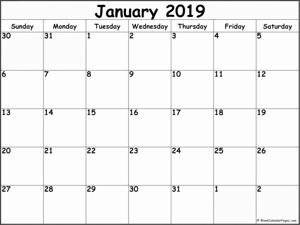 2019 Printable Calendar by Month Best Of Blank Monthly Calendars January 2019 Printable