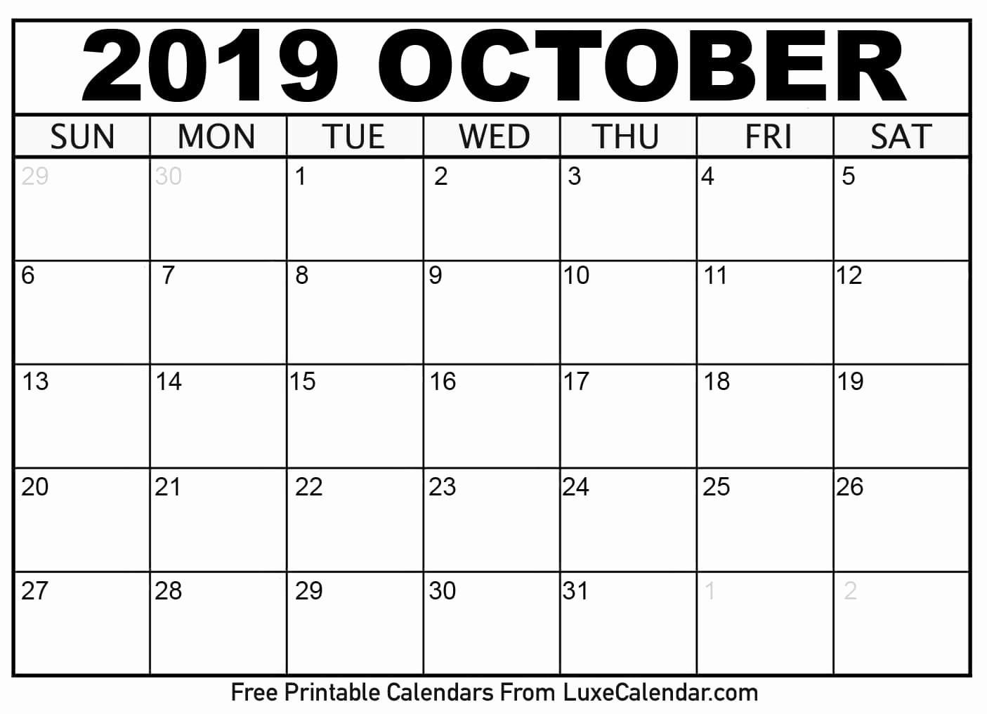 2019 Printable Calendar by Month Best Of Blank October 2019 Printable Calendar Luxe Calendar