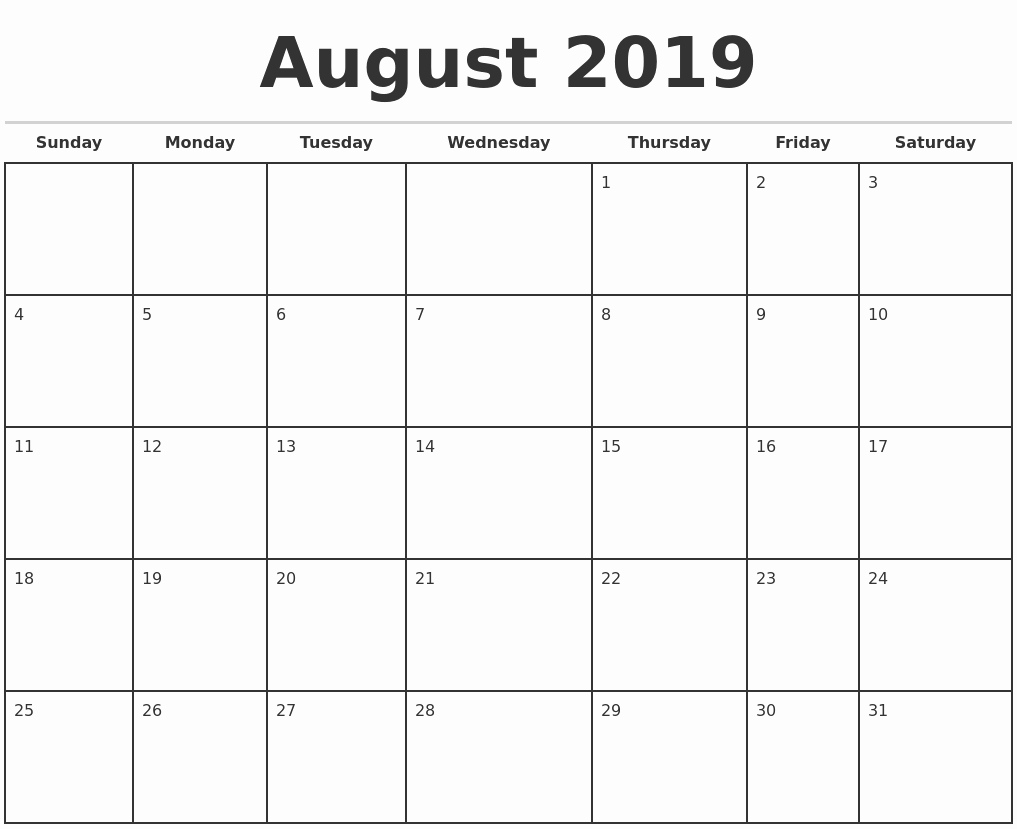 2019 Printable Calendar by Month Elegant 2019 Monthly Calendar Template