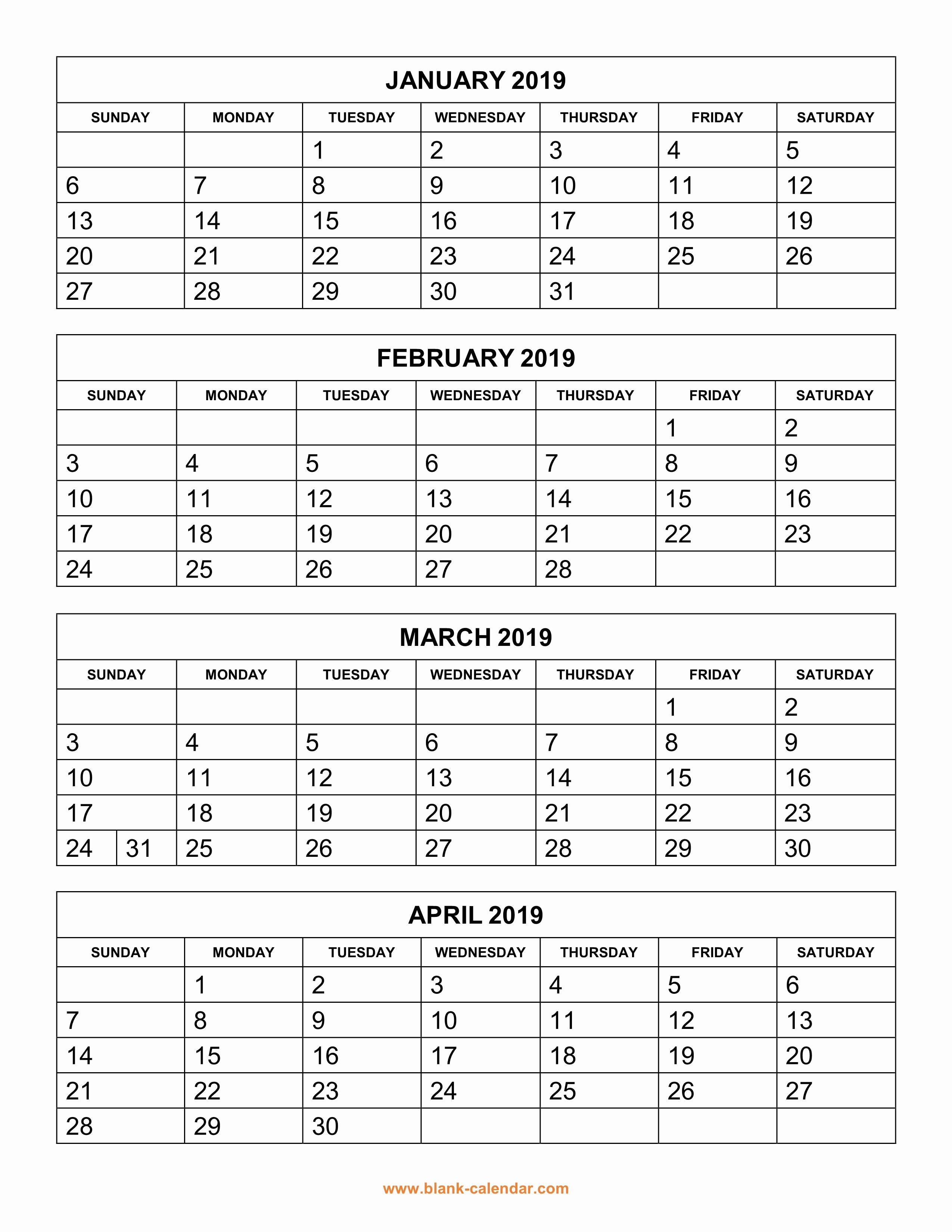2019 Printable Calendar by Month Elegant Free Download Printable Calendar 2019 4 Months Per Page