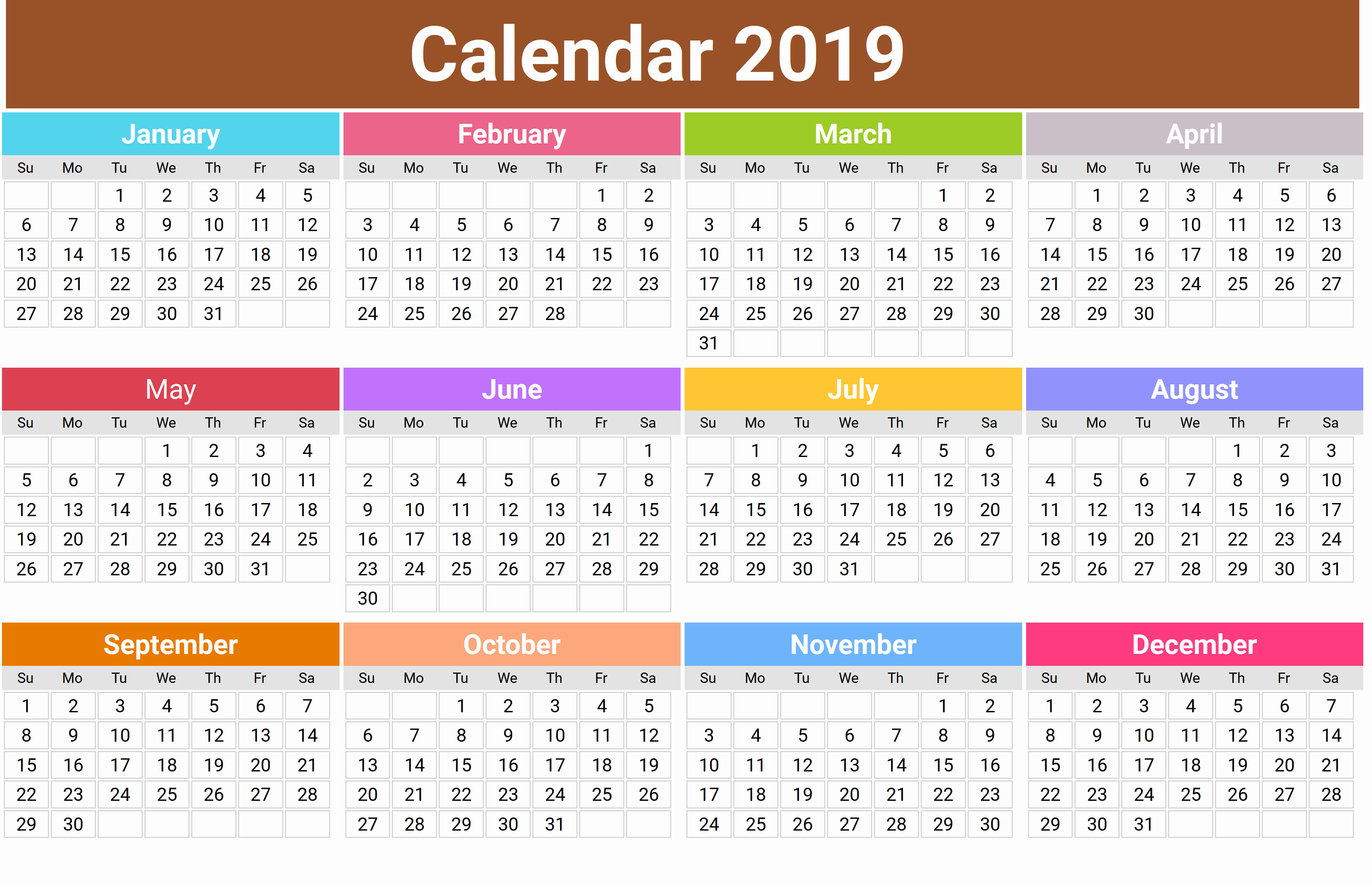 2019 Printable Calendar by Month Fresh Cute 2019 Monthly Calendar
