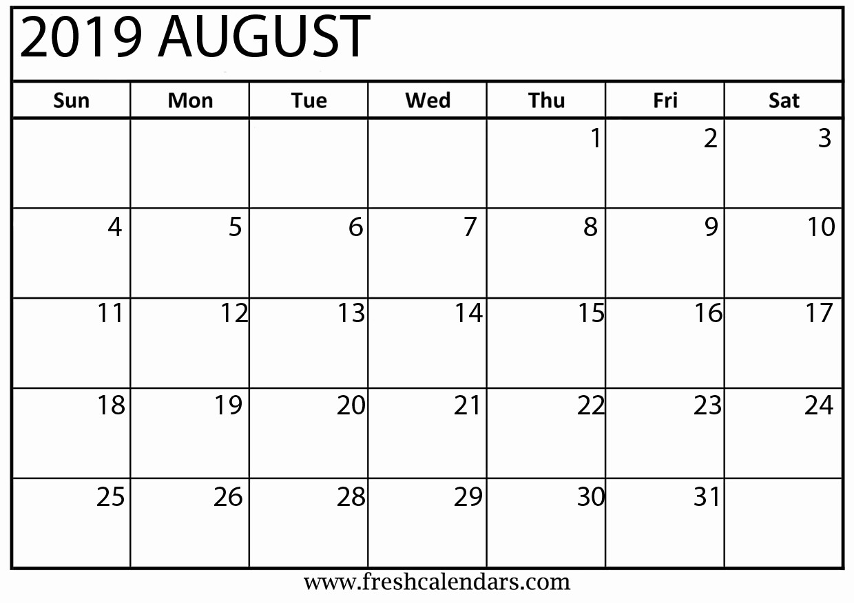 2019 Printable Calendar by Month Fresh Printable August 2019 Calendar Fresh Calendars