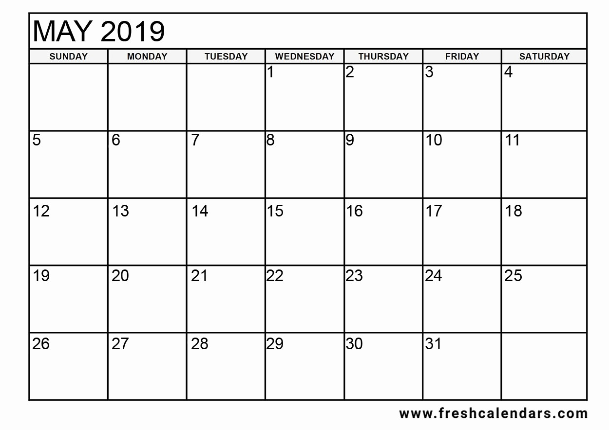 2019 Printable Calendar by Month Fresh Printable May 2019 Calendar Fresh Calendars