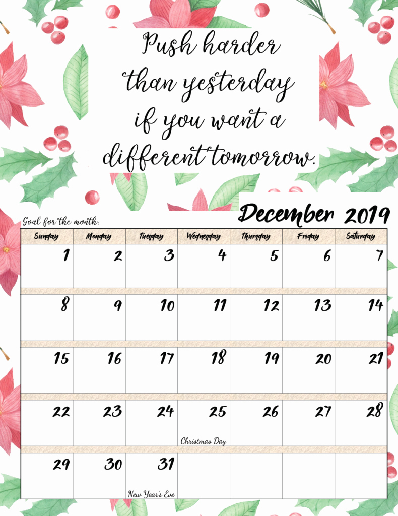 2019 Printable Calendar by Month Luxury Free Printable 2019 Monthly Motivational Calendars