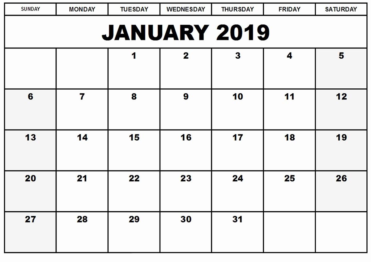 2019 Printable Calendar by Month Luxury January 2019 Calendar