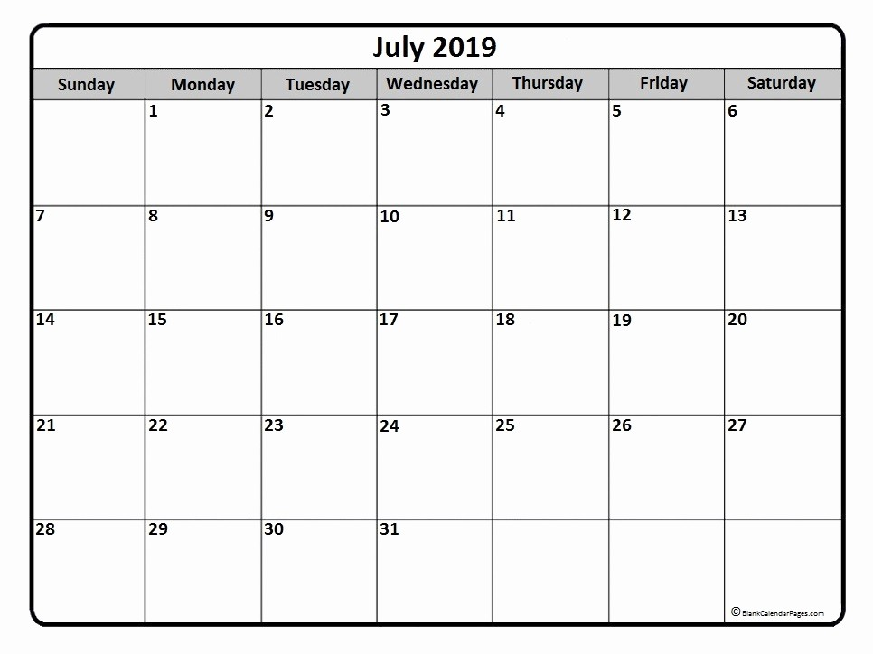 2019 Printable Calendar by Month Luxury July 2019 Calendar