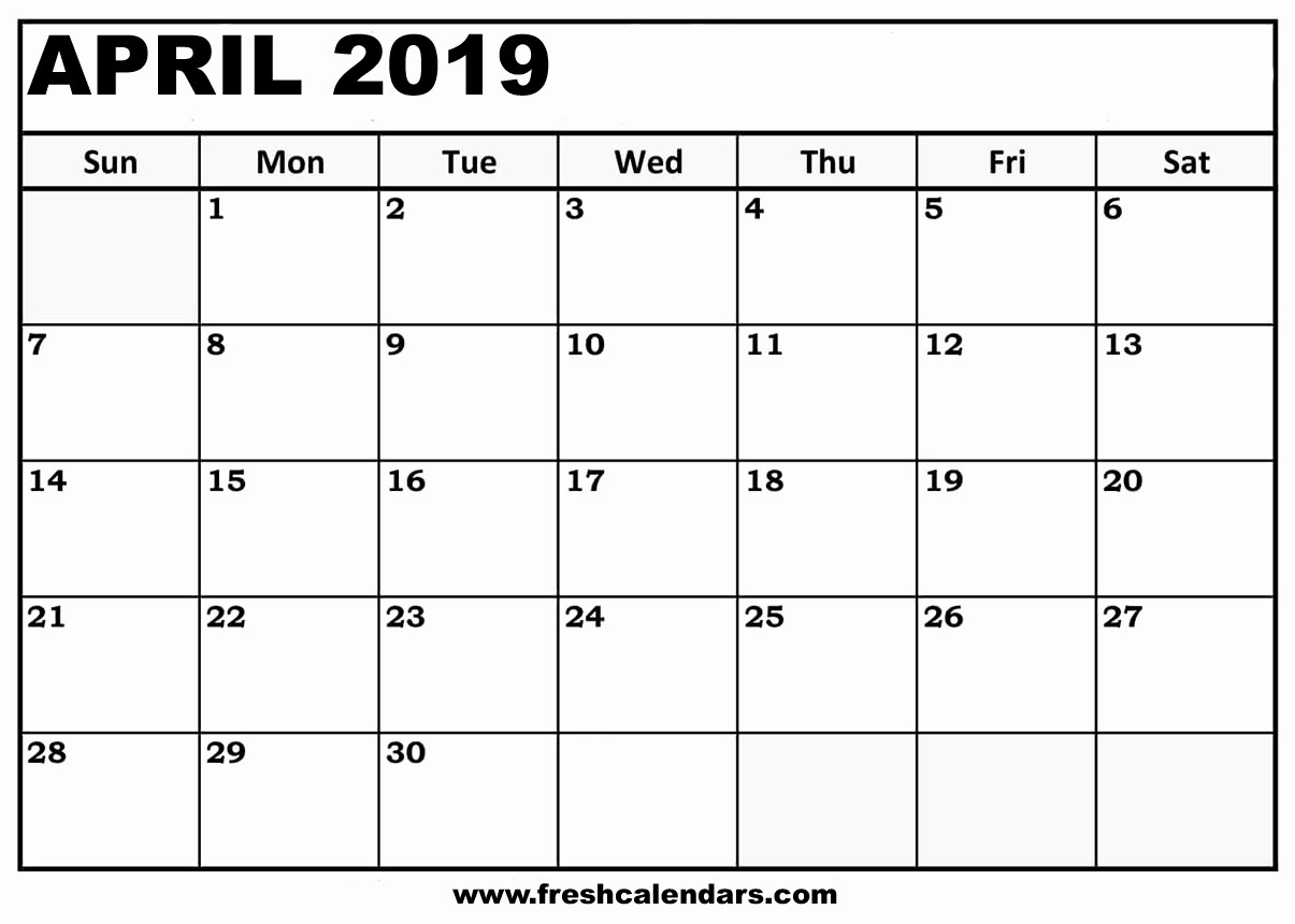 2019 Printable Calendar by Month Luxury Printable April 2019 Calendar Fresh Calendars